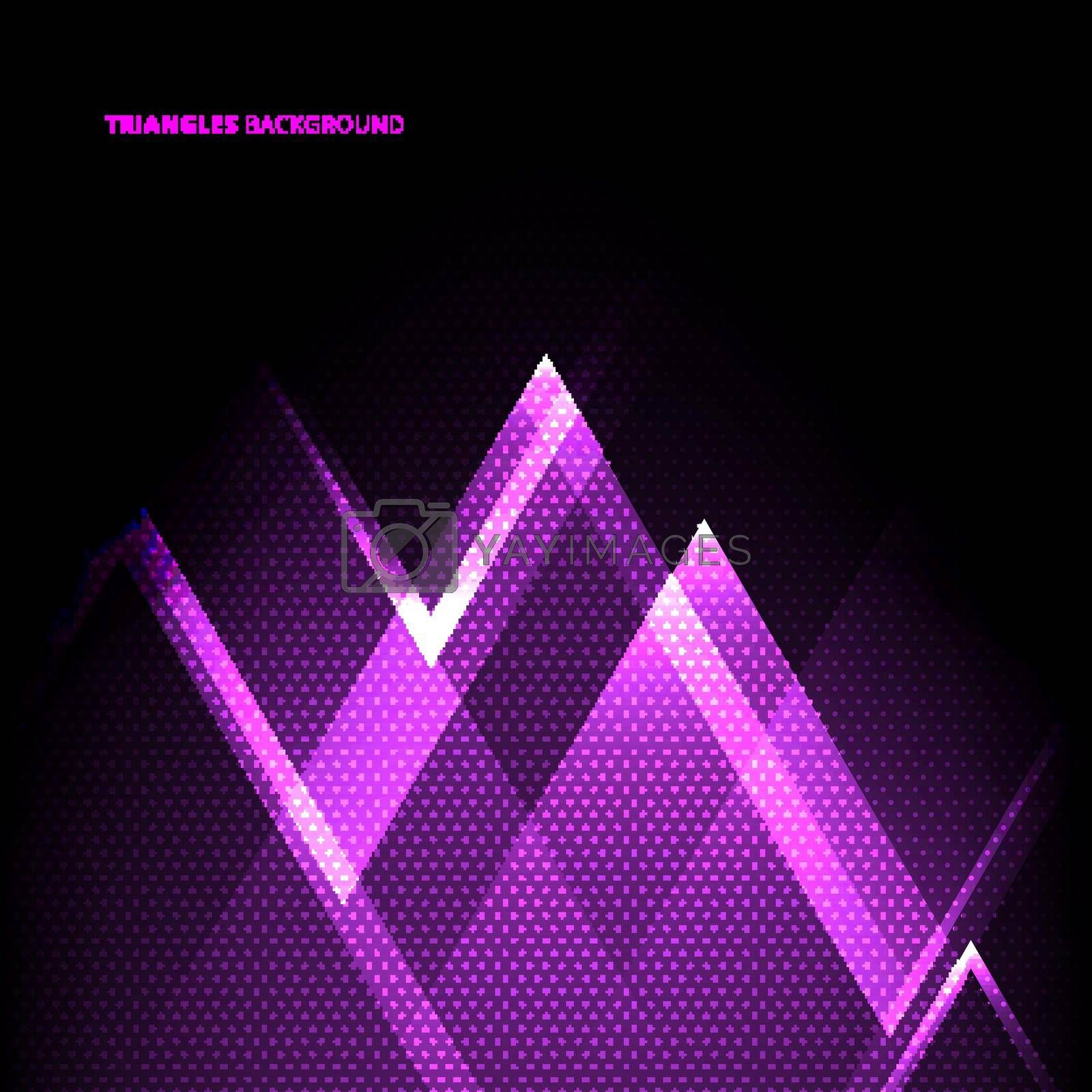 Abstract purple geometric triangles overlapping transparency layer on black background technology concept. Vector illustration