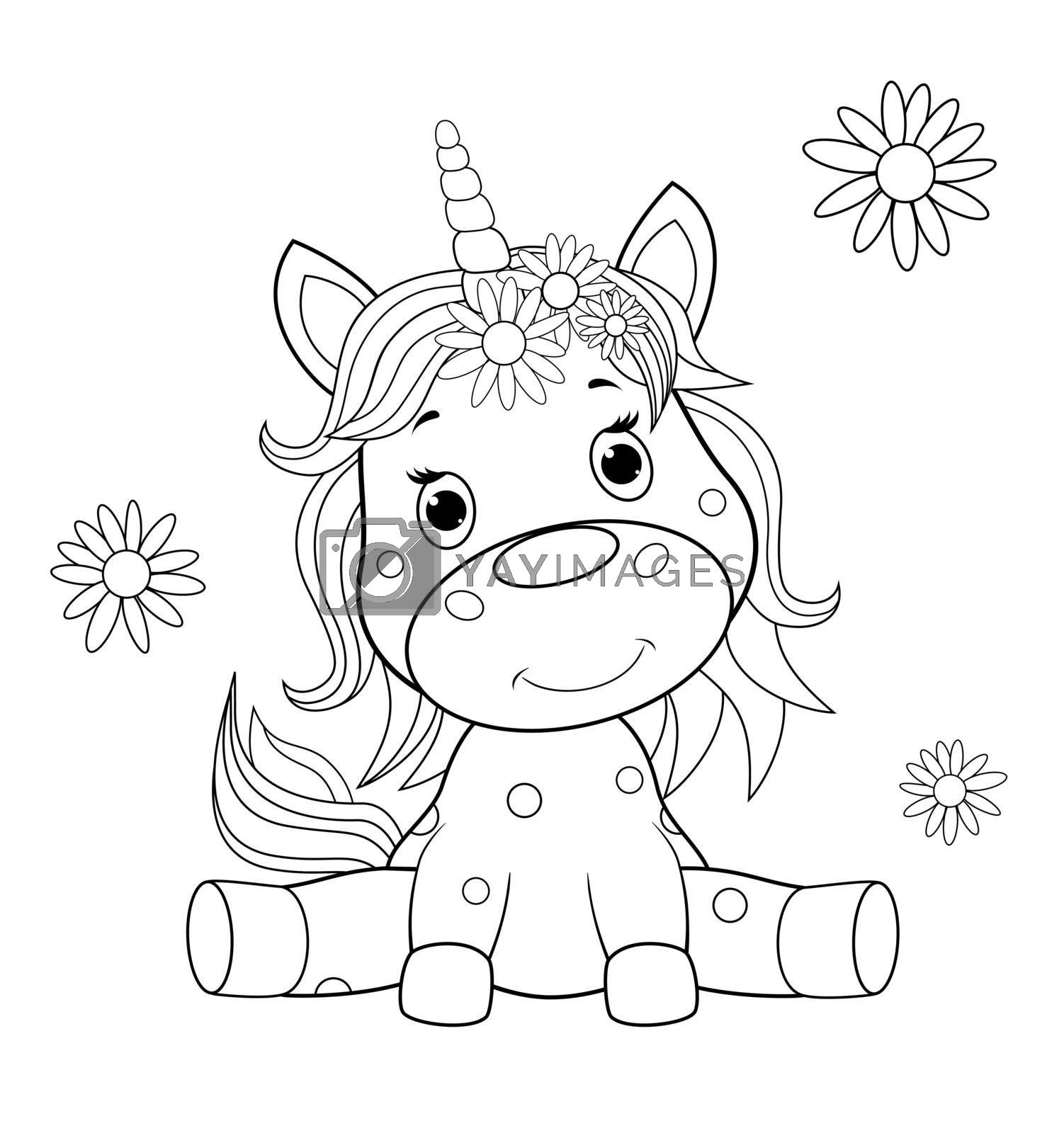 Baby unicorn sketch for coloring by liolle