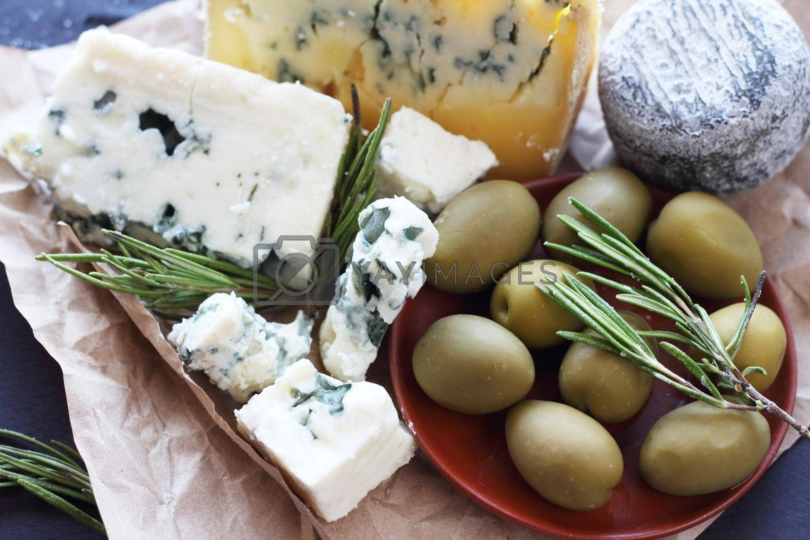 Roquefort cheese and olives gourmet stylish composition on dark background