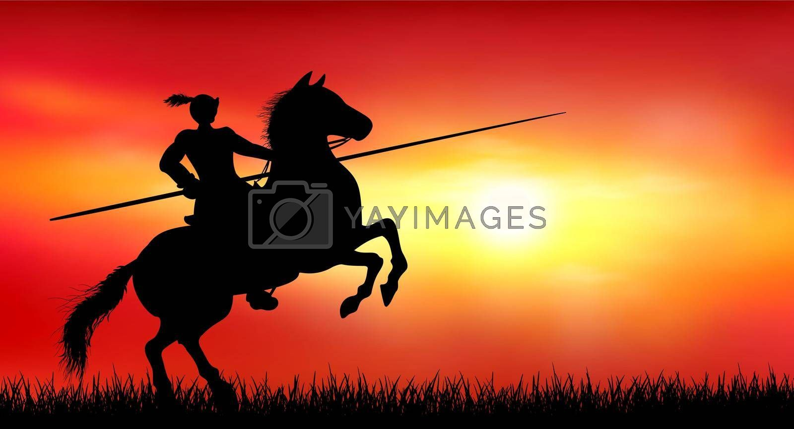 Knight on a horse on the background of a sunny sunset by liolle