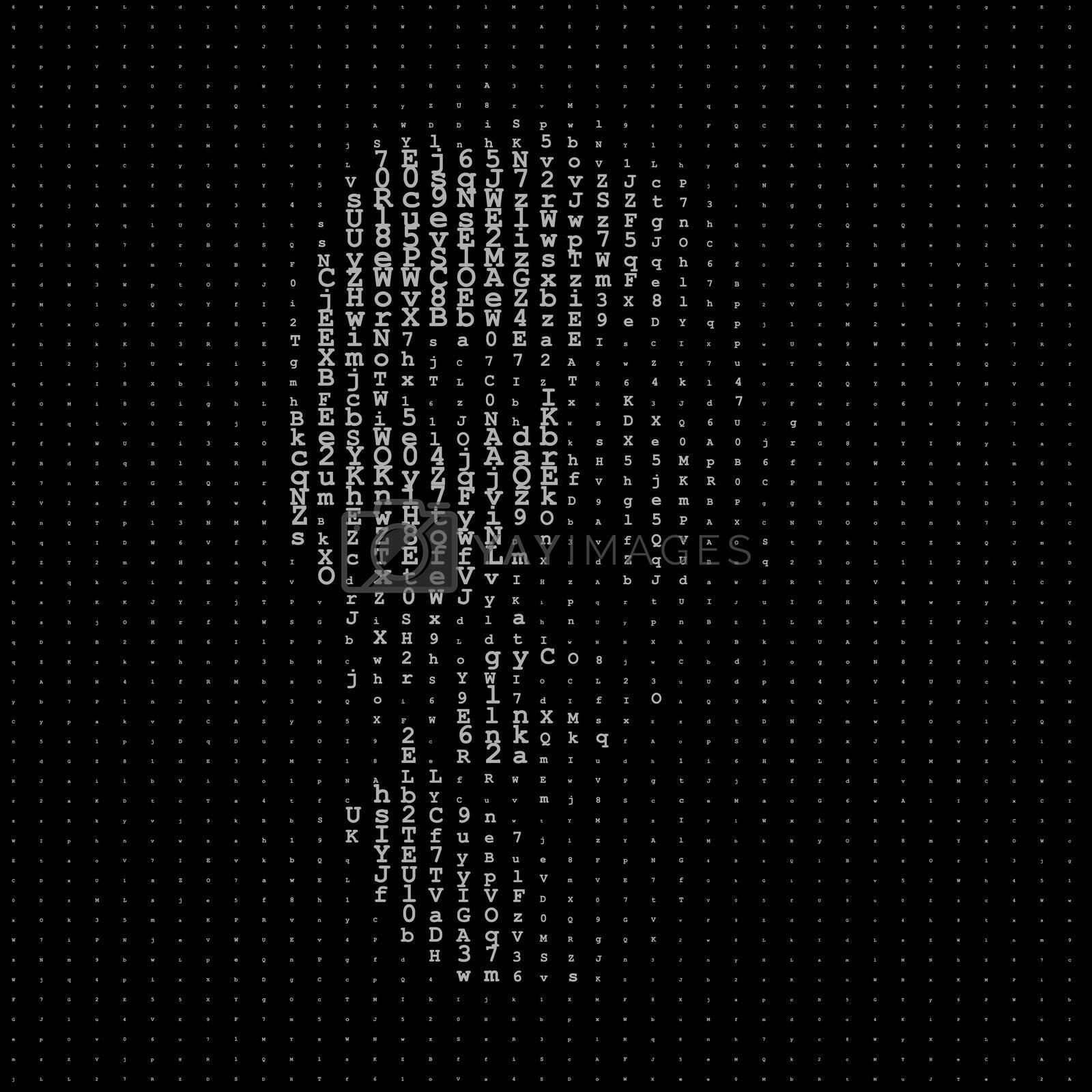 Man portrait, matrix illustration, artificial intelligence or cyber security concept