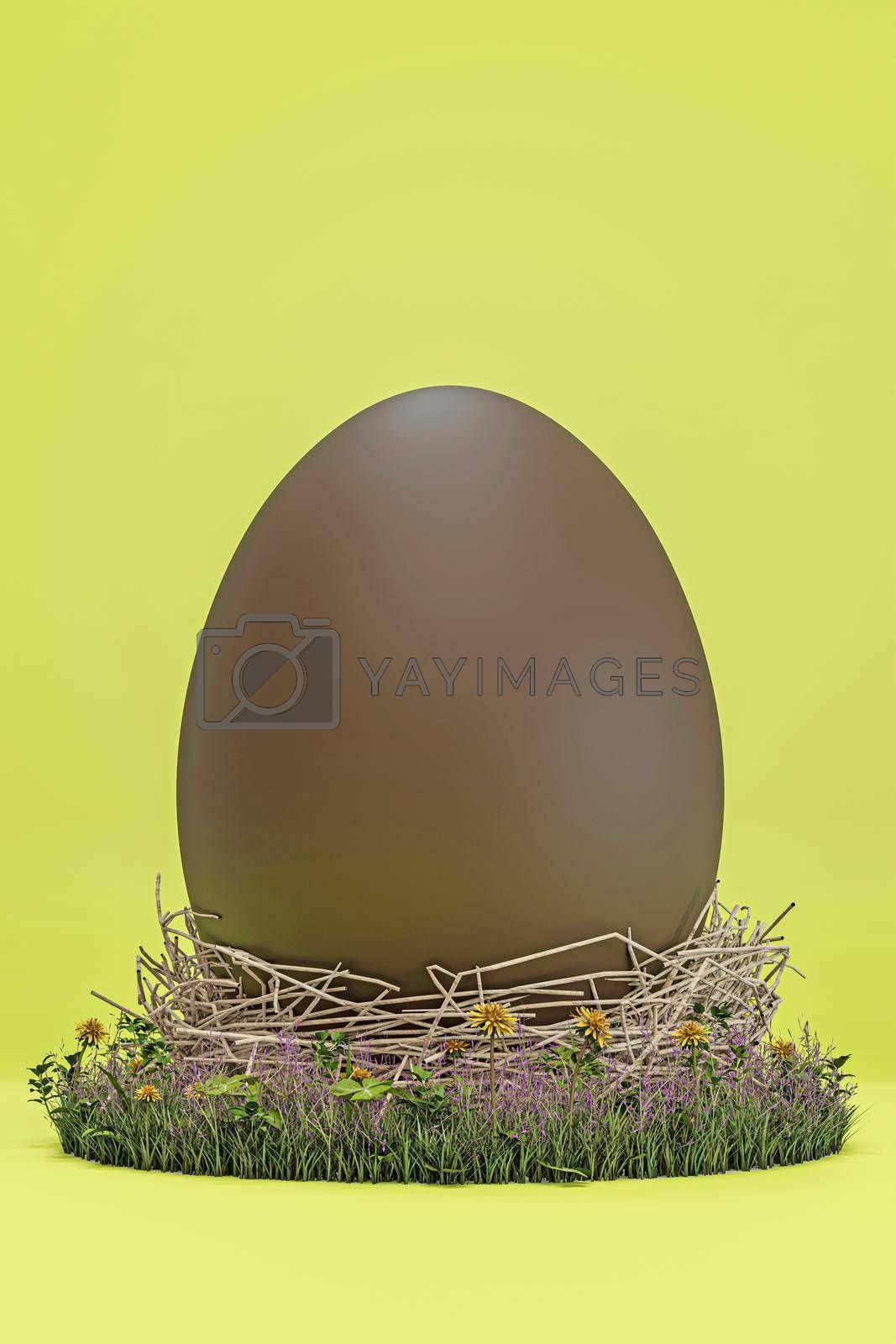easter egg isolated on yellow background 3d illustration