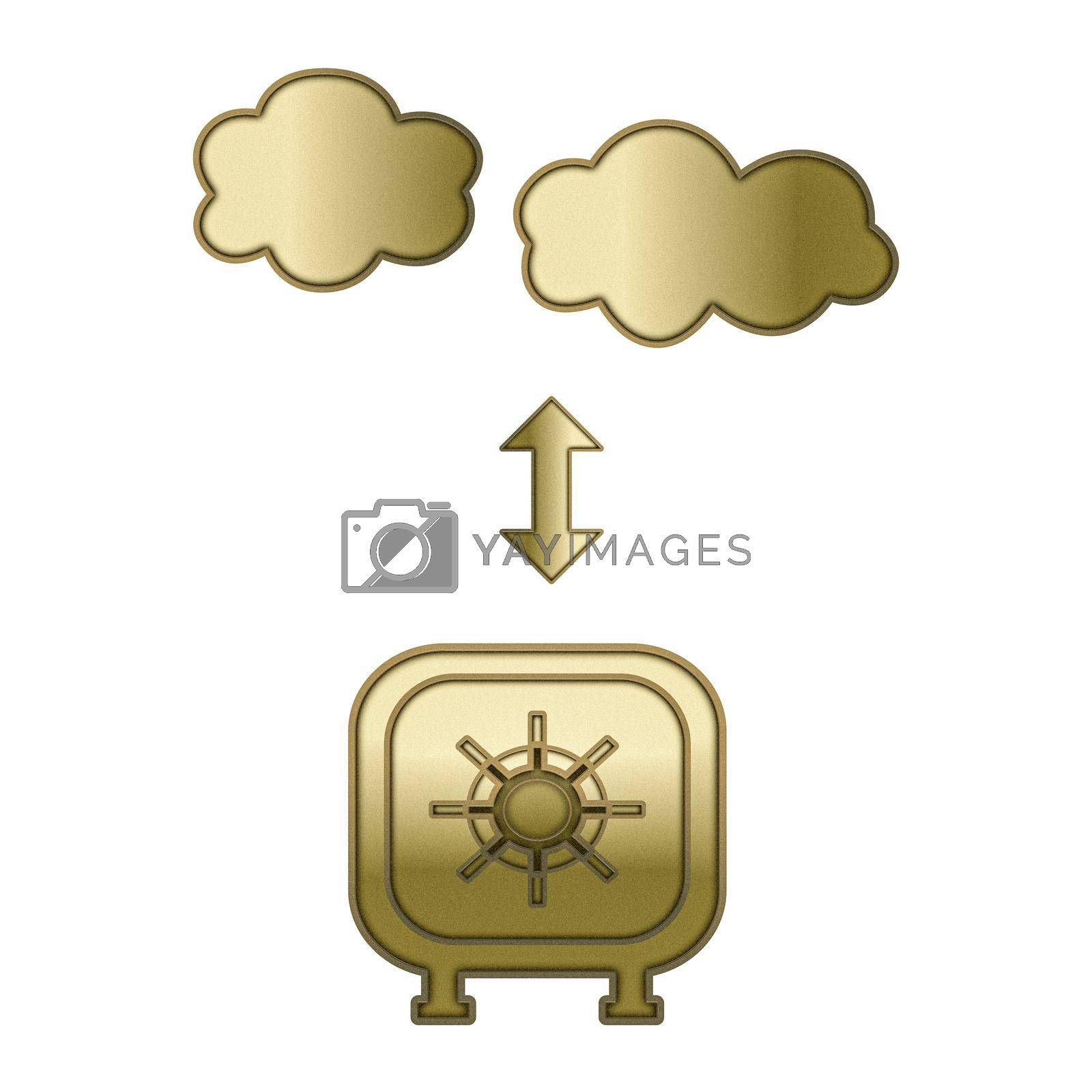 golden safe isolated on white background 3d illustration