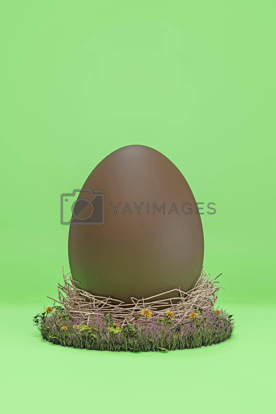 easter egg isolated on green background 3d illustration