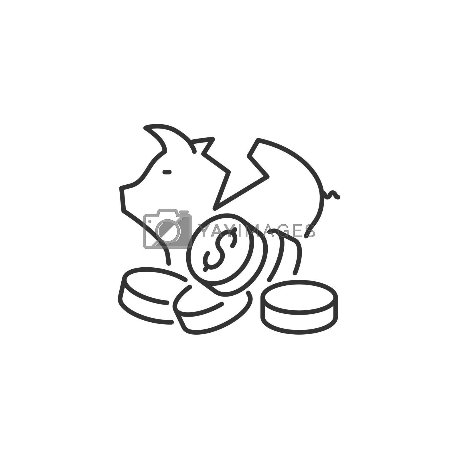 Broken Piggy Bank Related Vector Line Icon. Sign Isolated on the White Background. Editable Stroke EPS file. Vector illustration.