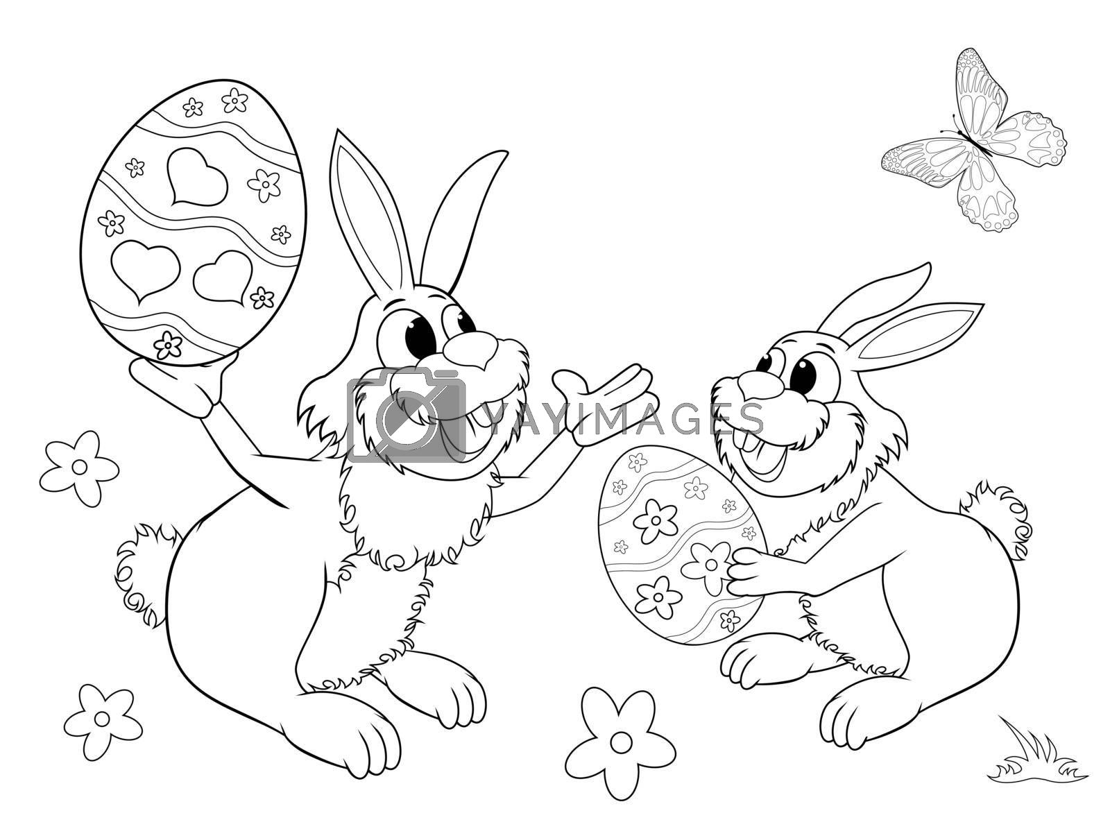 Royalty free image of Easter bunnies sketch for coloring by liolle