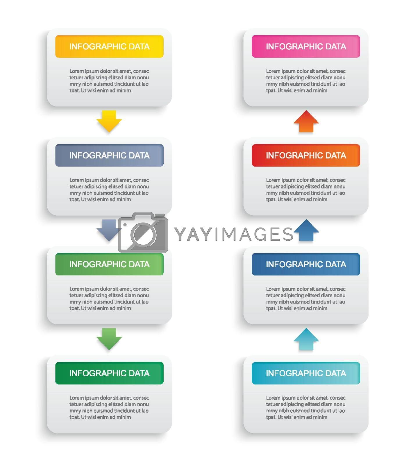 Infographics rectangle paper index with 8 data template. Vector illustration abstract background. Can be used for workflow layout, business step, banner, web design.