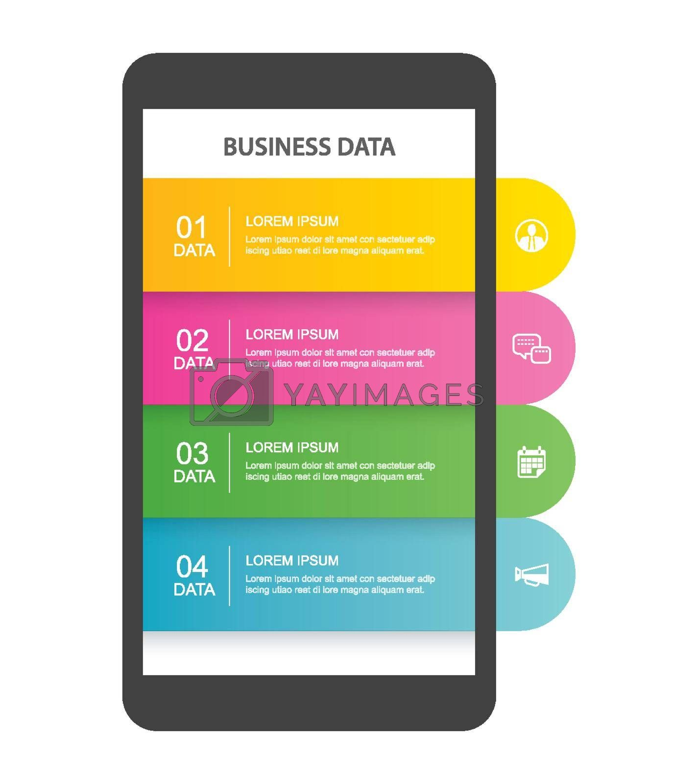 Smartphone infographic template with 4 data for business.