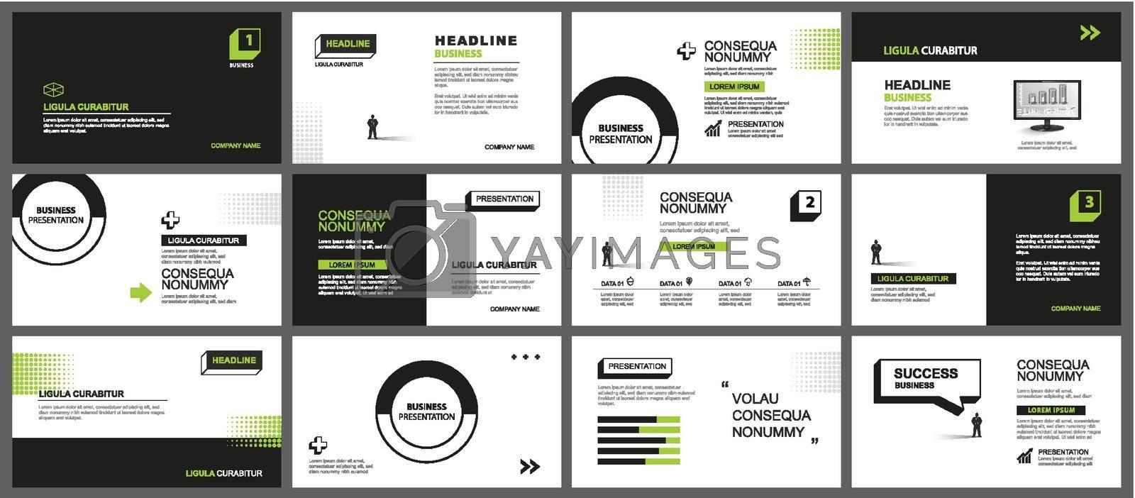 Presentation and slide layout background. Design green and black geometric template. Use for business keynote, presentation, slide, marketing, leaflet, advertising, template, modern style.