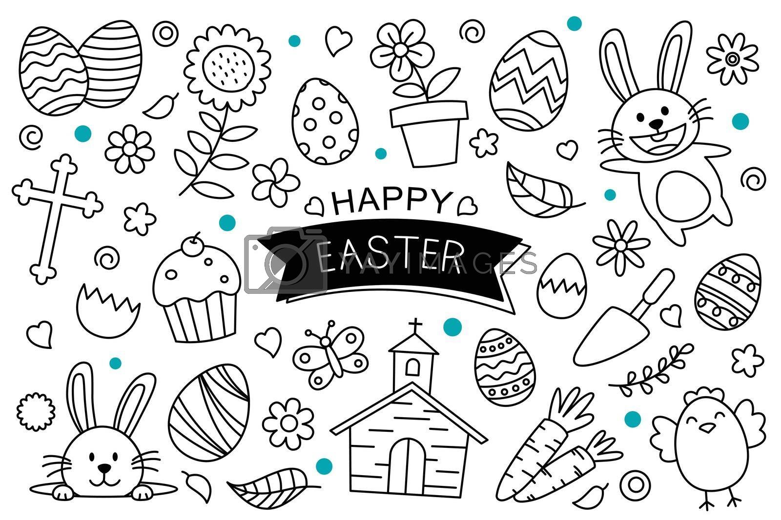 Easter eggs doodle hand drawn on white background. Happy easter isolated element objects.