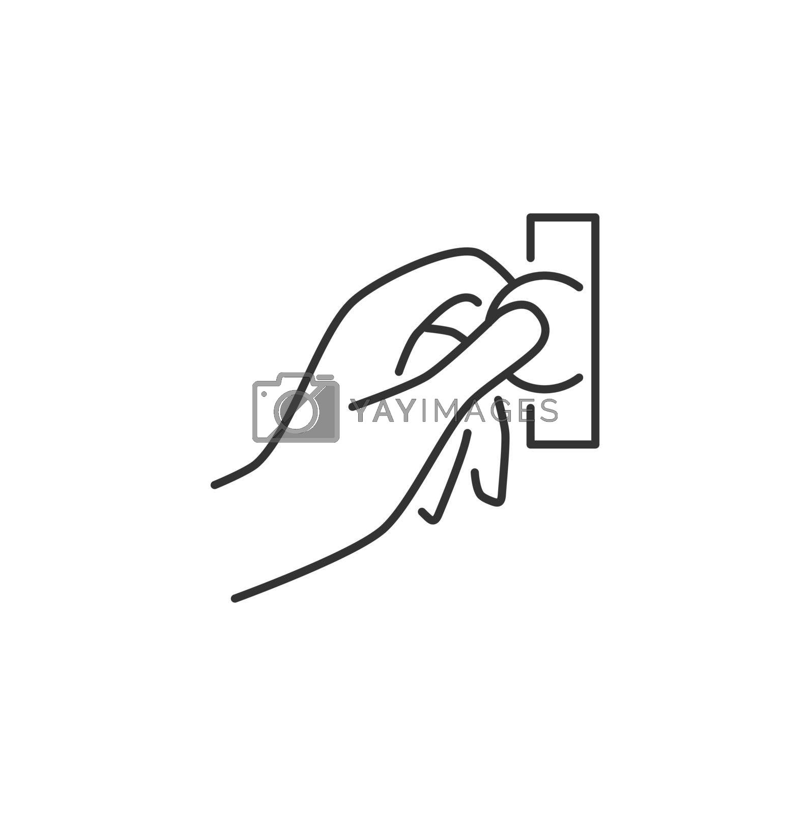 Hand Insert Coin Into the Coin Acceptor Related Vector Line Icon. Sign Isolated on the White Background. Editable Stroke EPS file. Vector illustration.