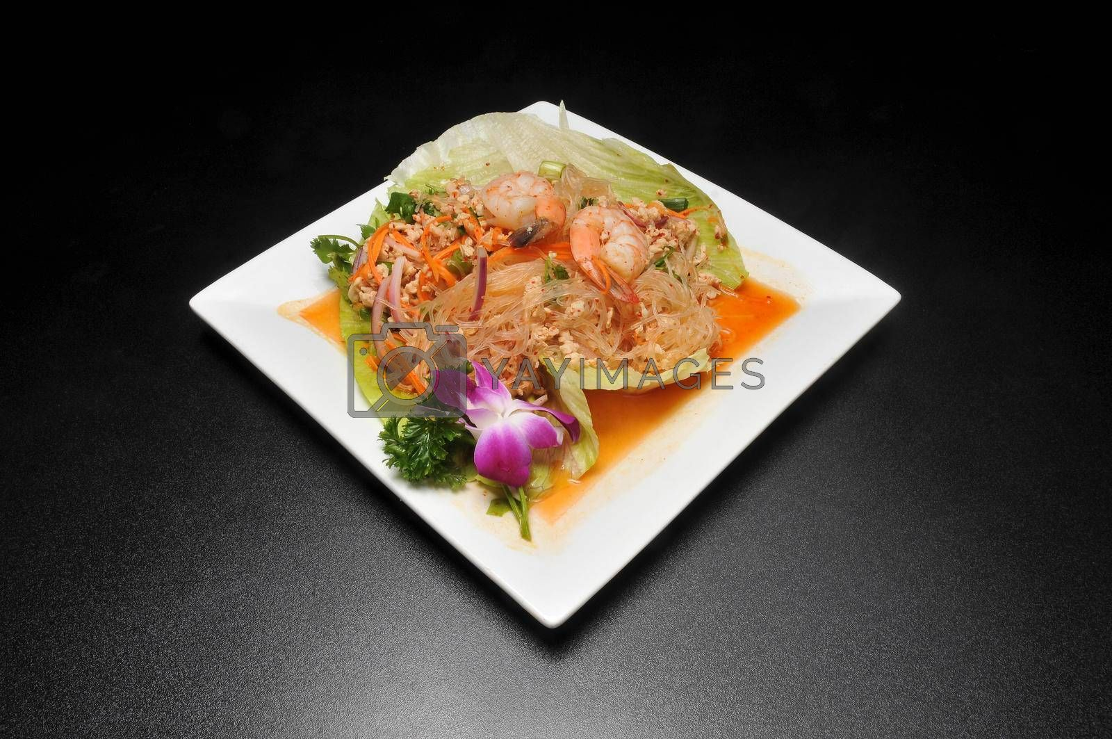 Traditional and authentic Chinese cuisine known as shrimp salad