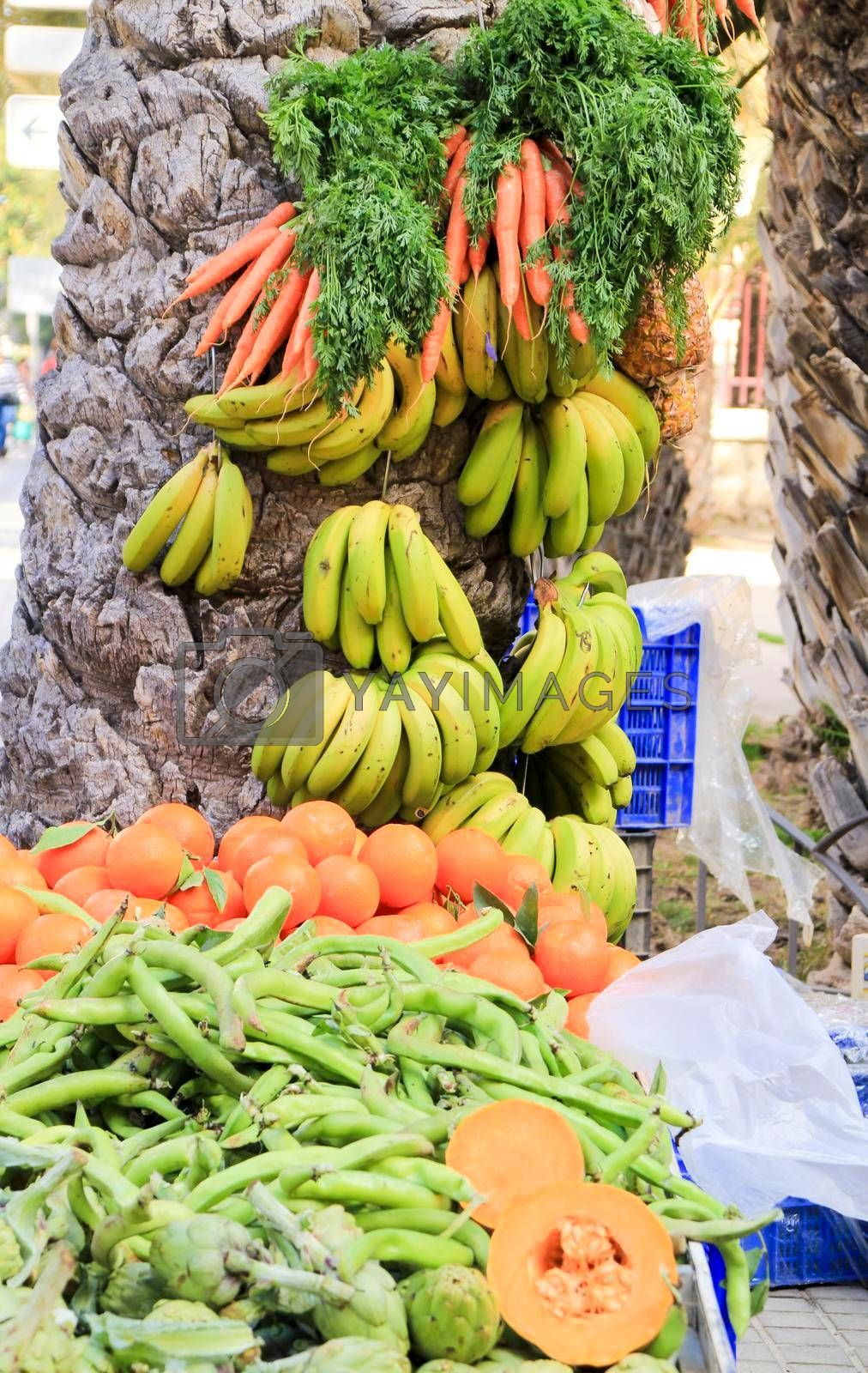 Vegetables and fruits for sale at an ecological market stall in Elche, Alicante, Spain.