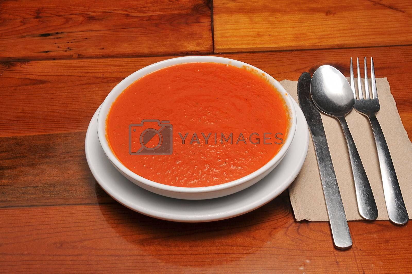 Delicious American cuisine known as tomato soup