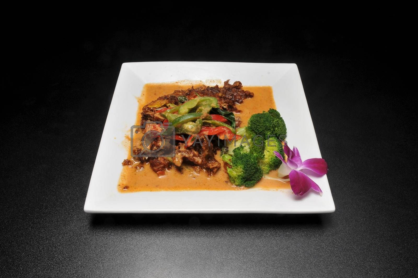Delicious Thai dish known as Softshell Crab Panang Curry