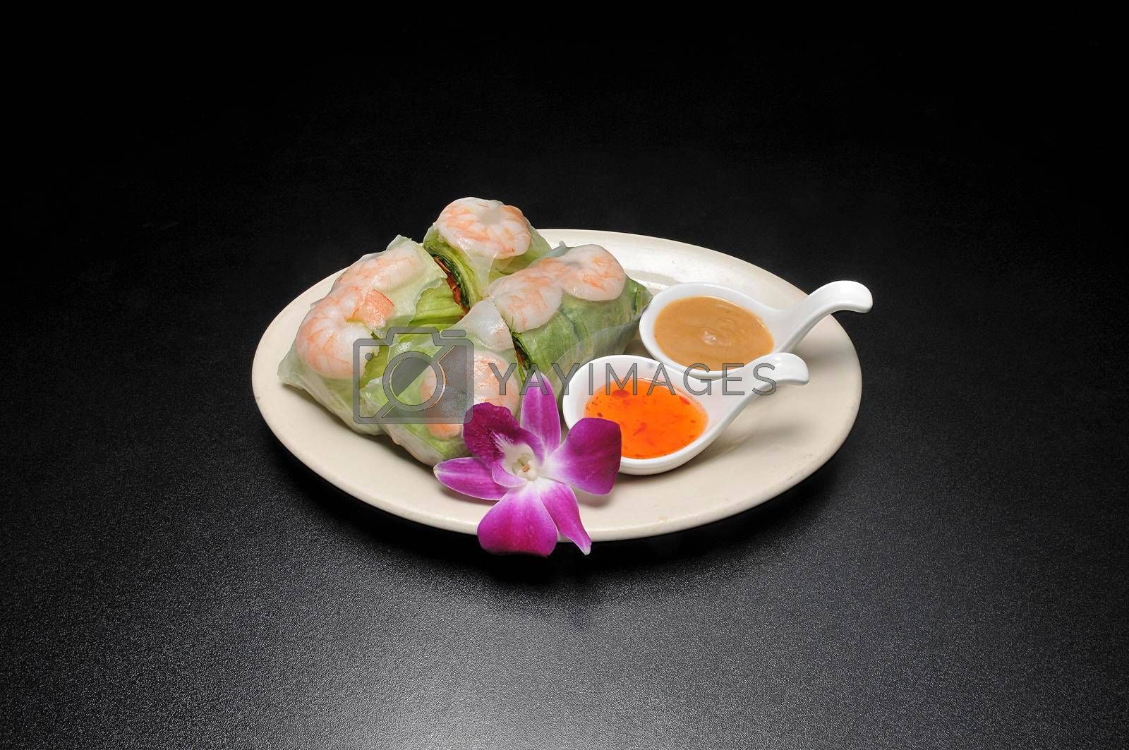 Delicious Asian cuisine known as summer roll