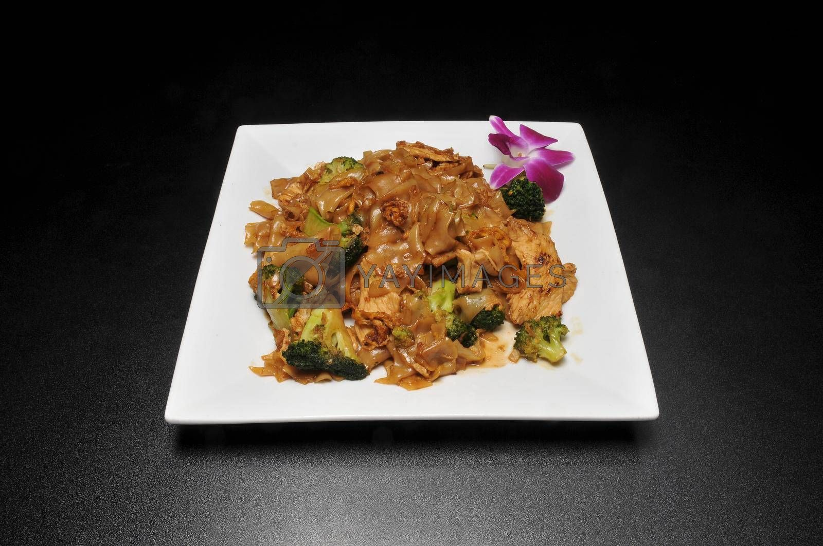 Traditional delicious Thai cuisine known as pad see ew