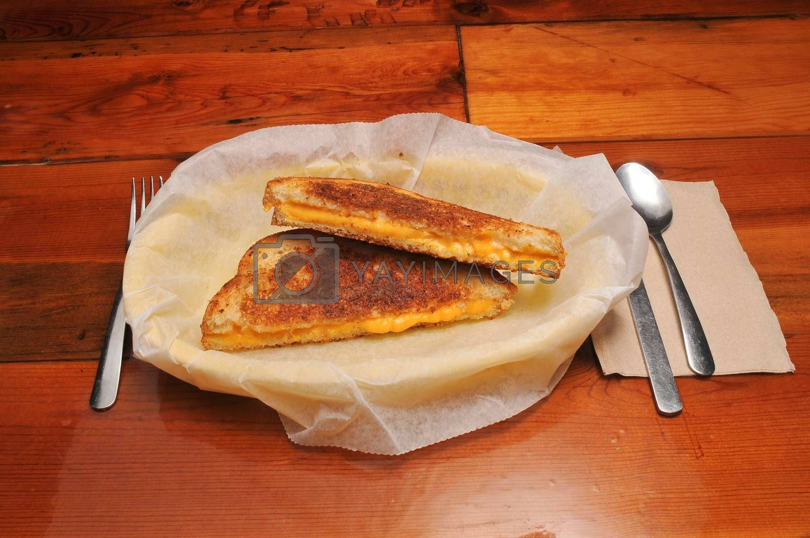 Classic American cuisine known as the grilled cheese sandwich.