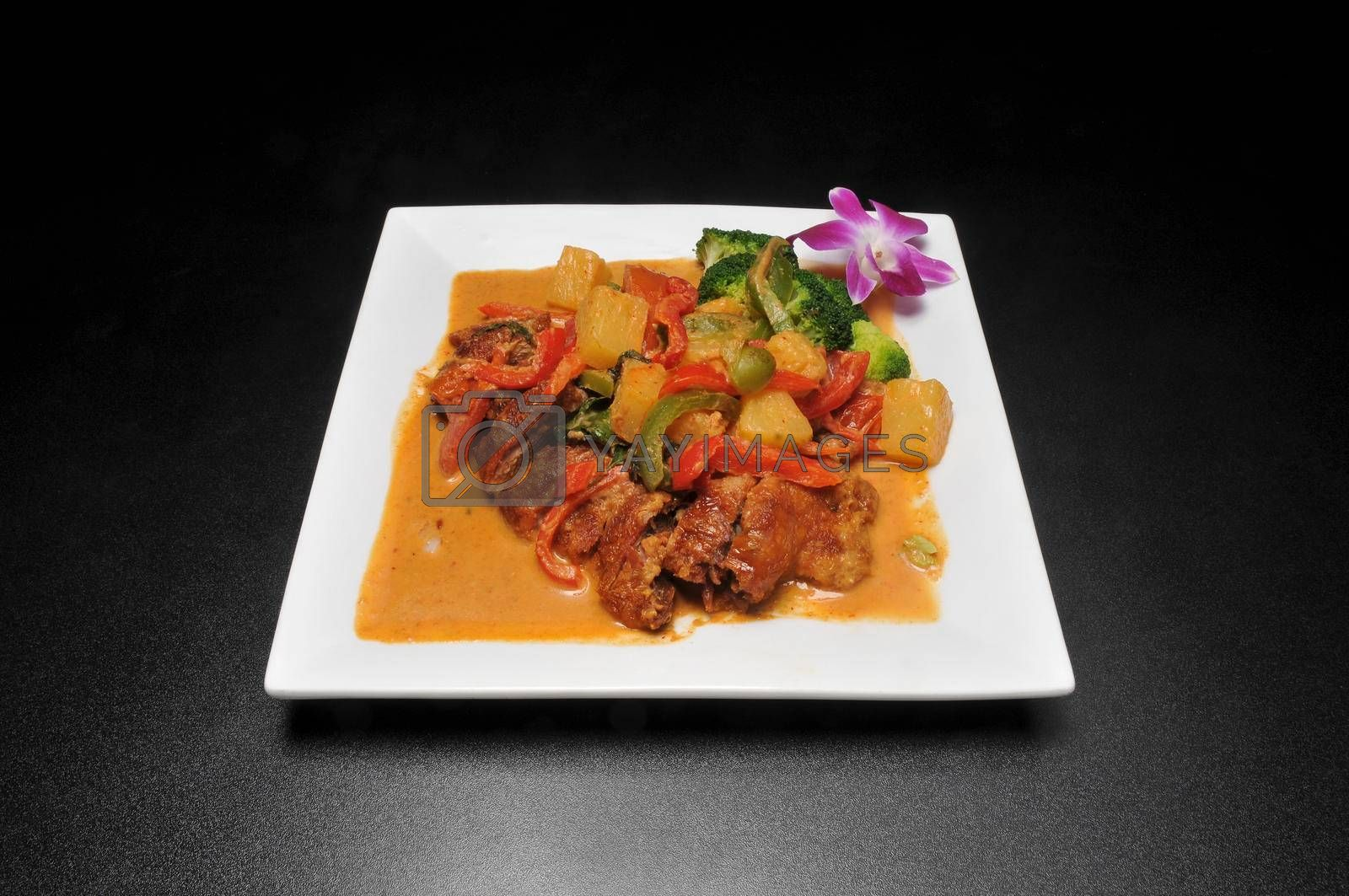 Traditional and delicious Thai dish known as duck curry