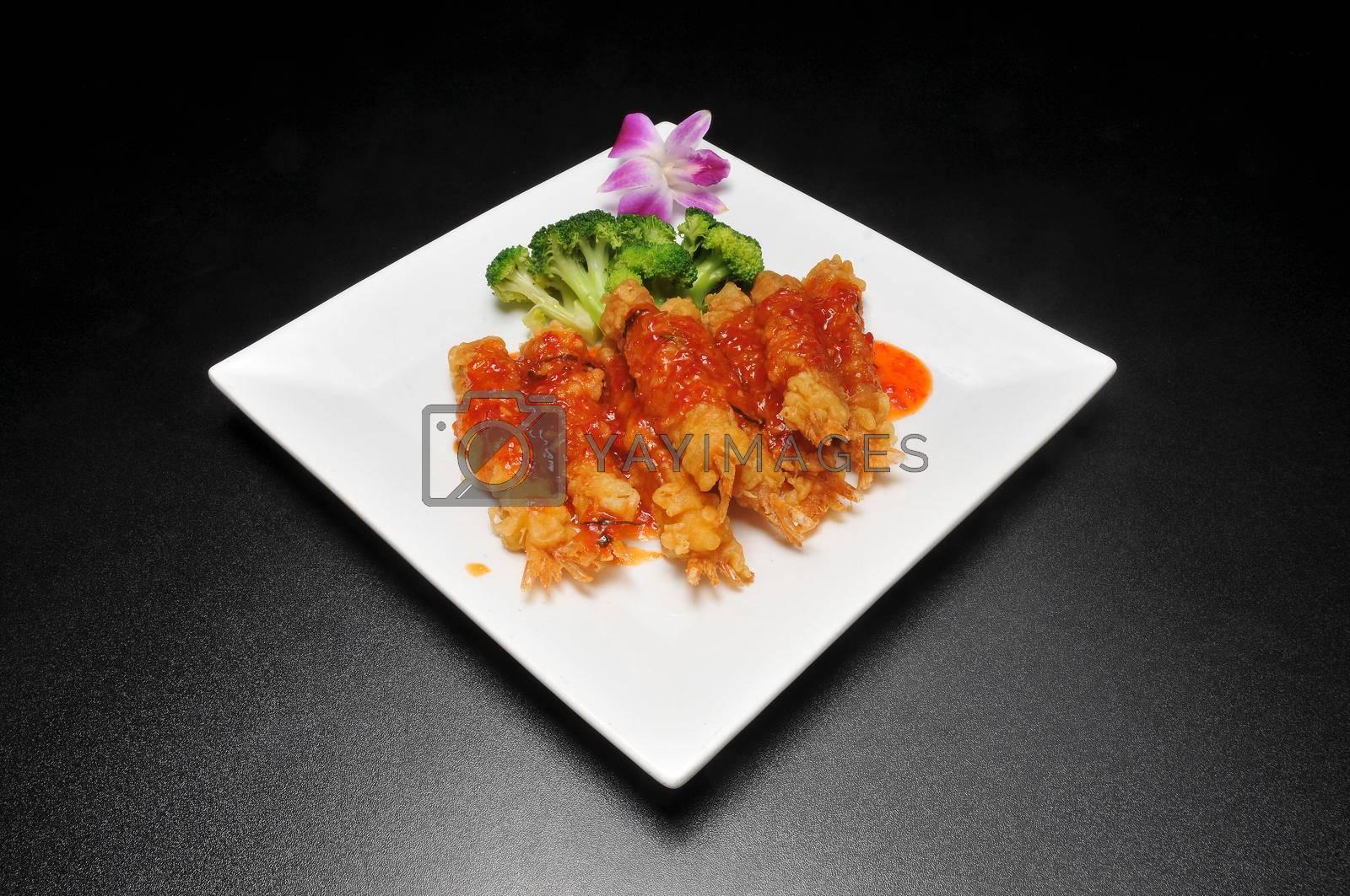 Delicious Thai food known as Bangkok shrimp