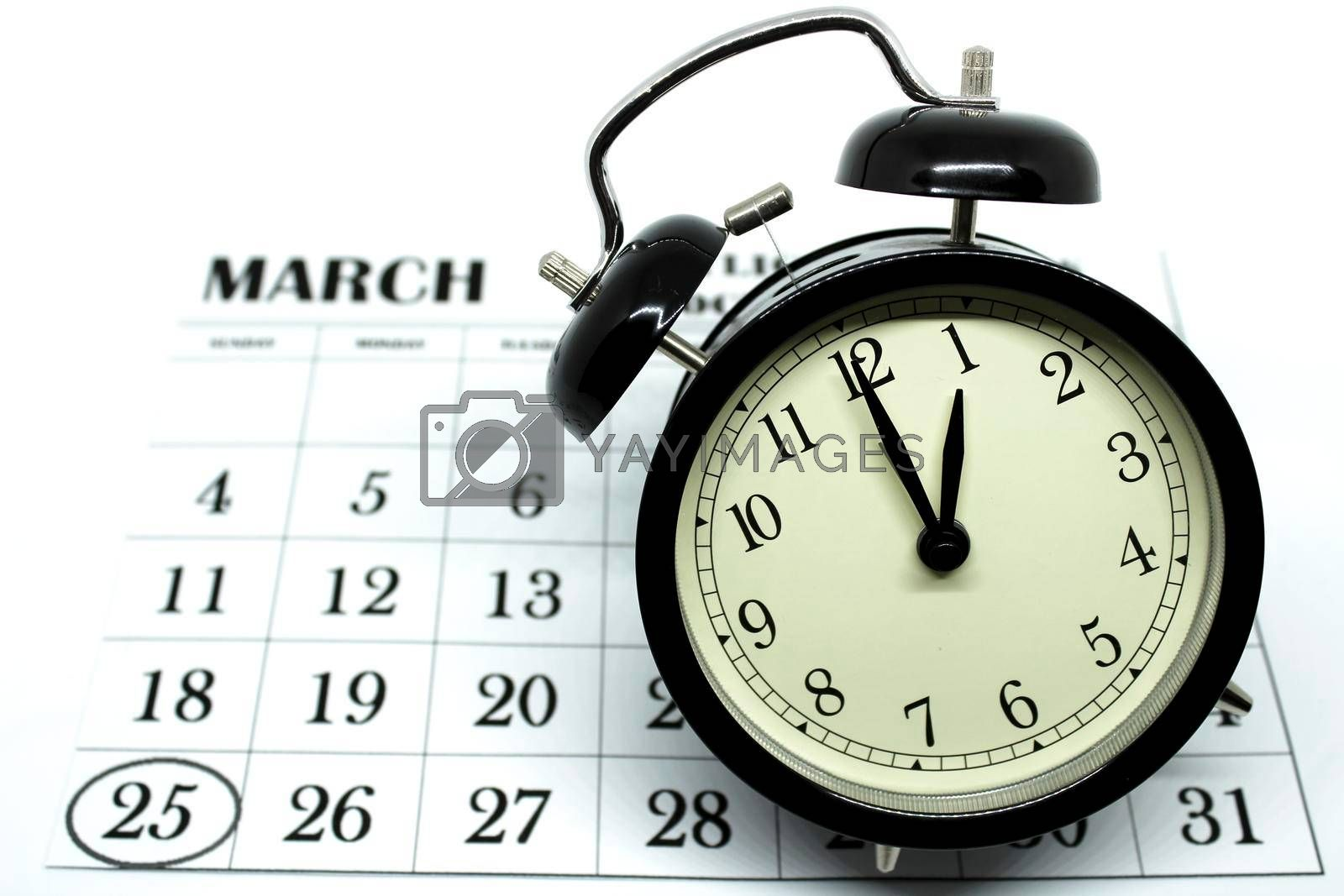 Daylight Savings Spring Forward sunday at 1:00 a.m. March 25 date indicated in the calendar.