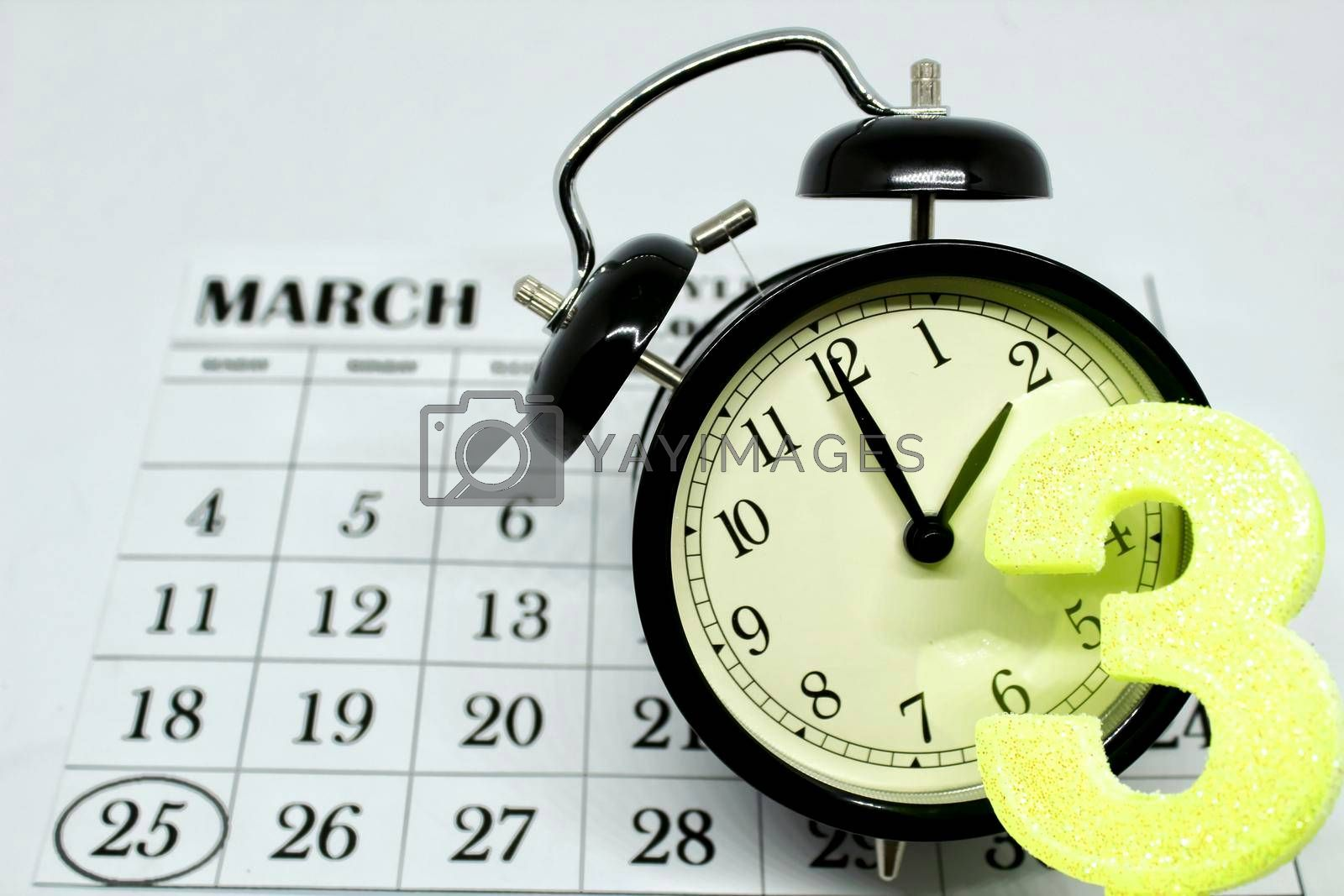 Daylight Savings Spring Forward sunday at 2:00 a.m. March 25 date indicated in the calendar.