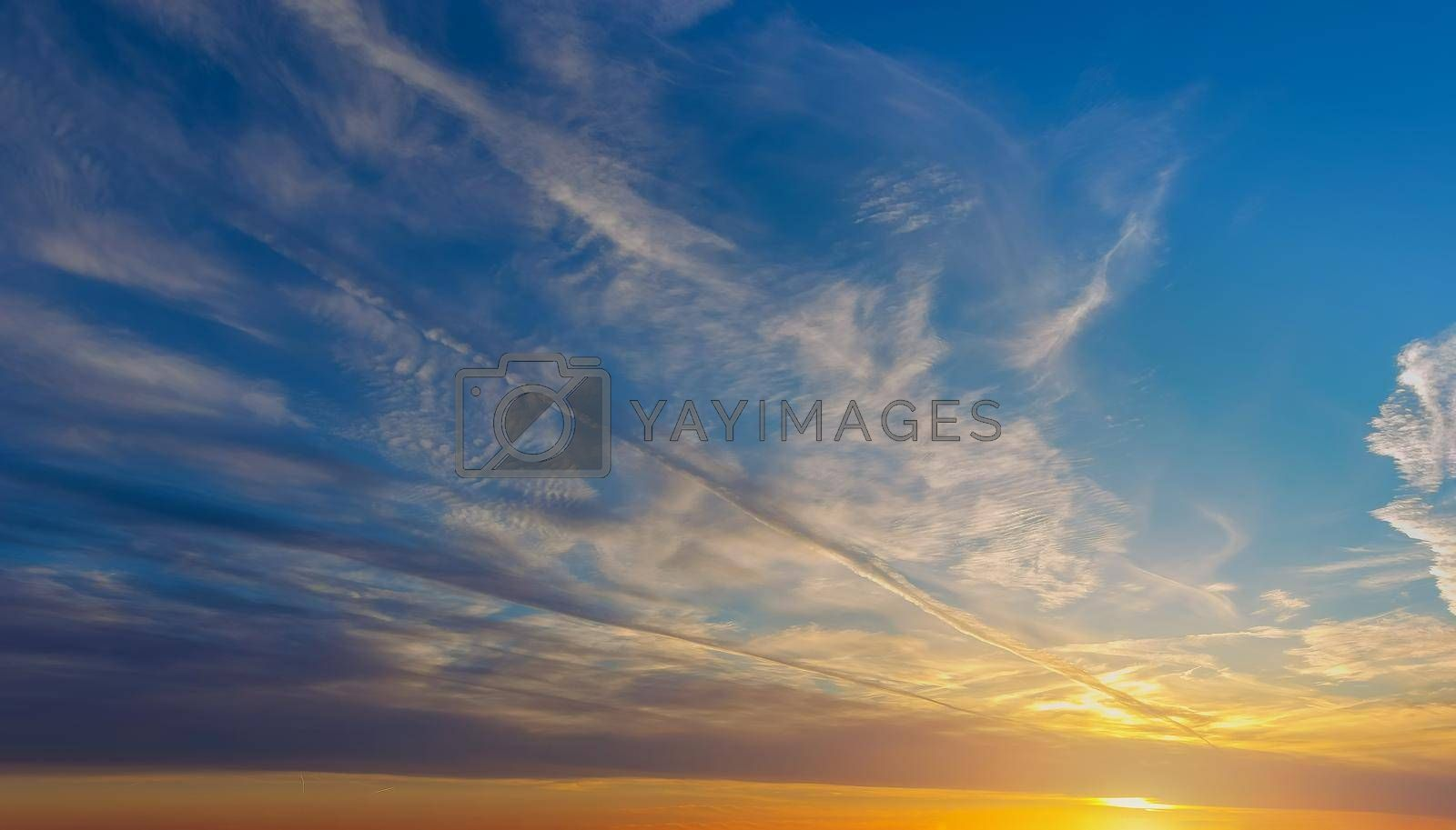 Colorful sky during orange and purple sunset natural landscape