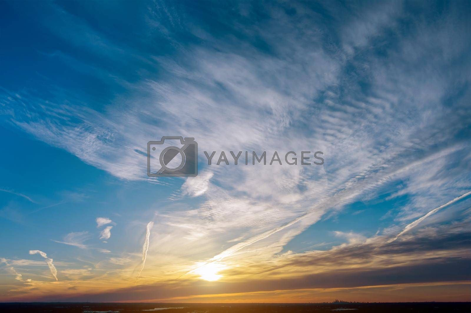 Beautiful landscape red purple orange blue pink sunset sky cloud dramatic