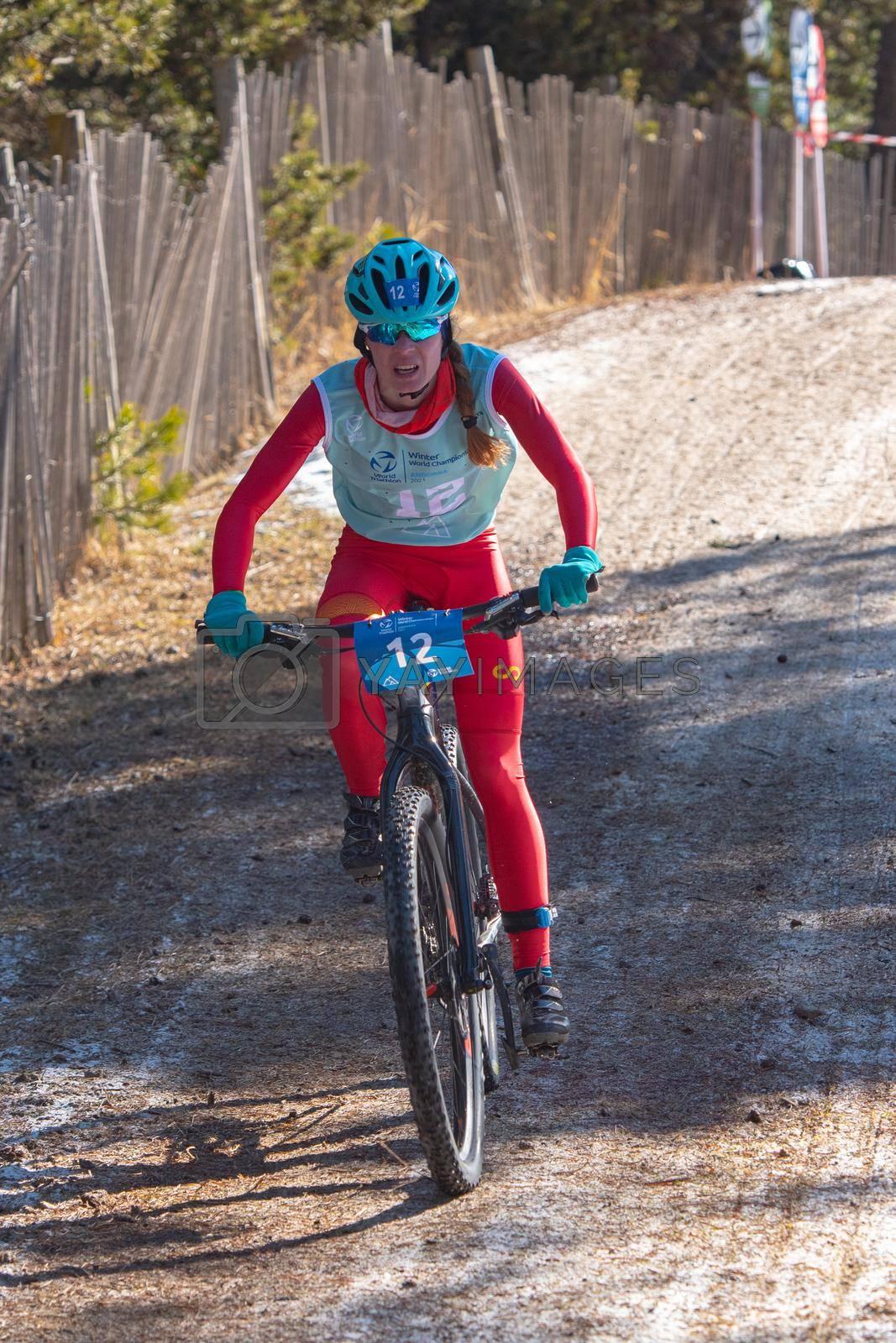 Naturlandia, Andorra : 2021 March 20 : Marta Borbon ESP in the 2021 World Triathlon Winter Championships Andorra