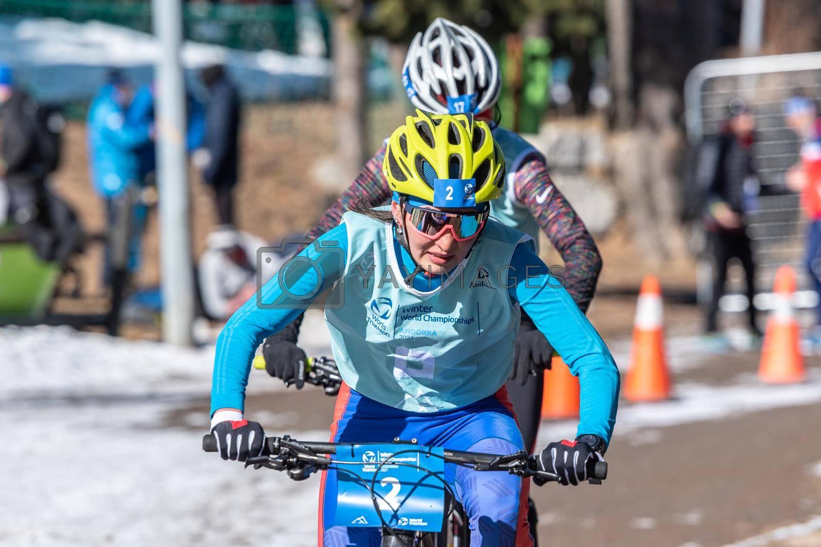 Naturlandia, Andorra : 2021 March 20 : Svetlana Sokolova RUS in the 2021 World Triathlon Winter Championships Andorra