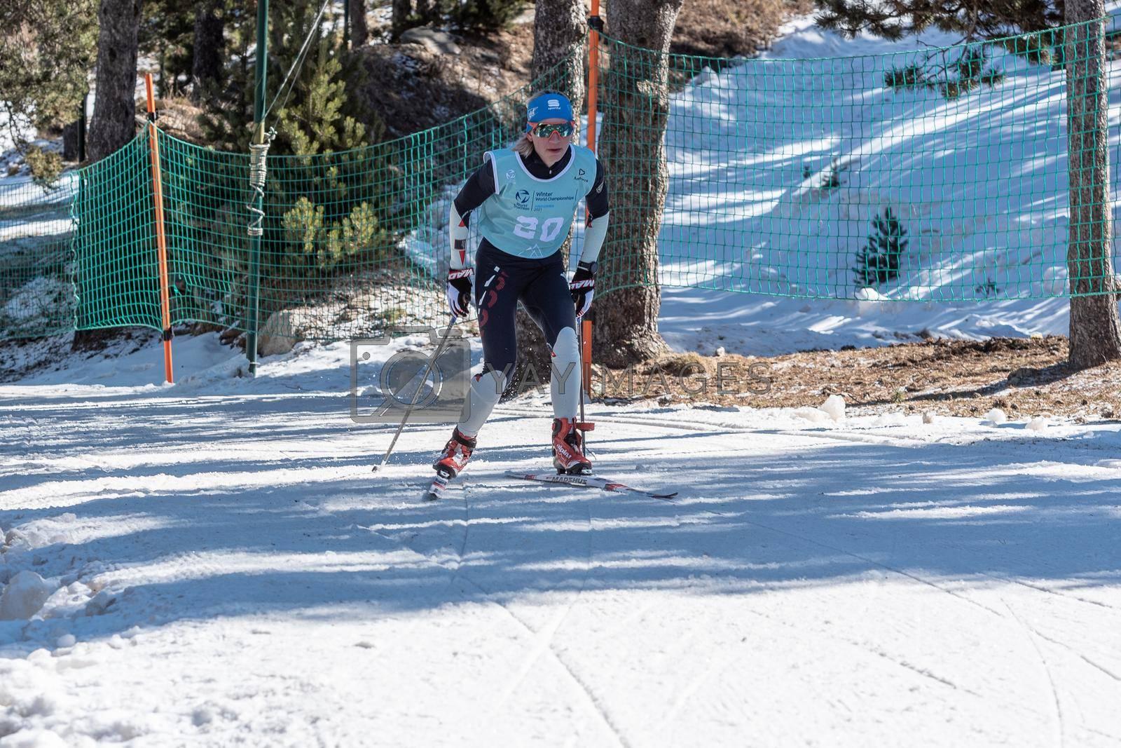 Naturlandia, Andorra : 2021 March 20 : Olga Cheremisinova RUS in the 2021 World Triathlon Winter Championships Andorra