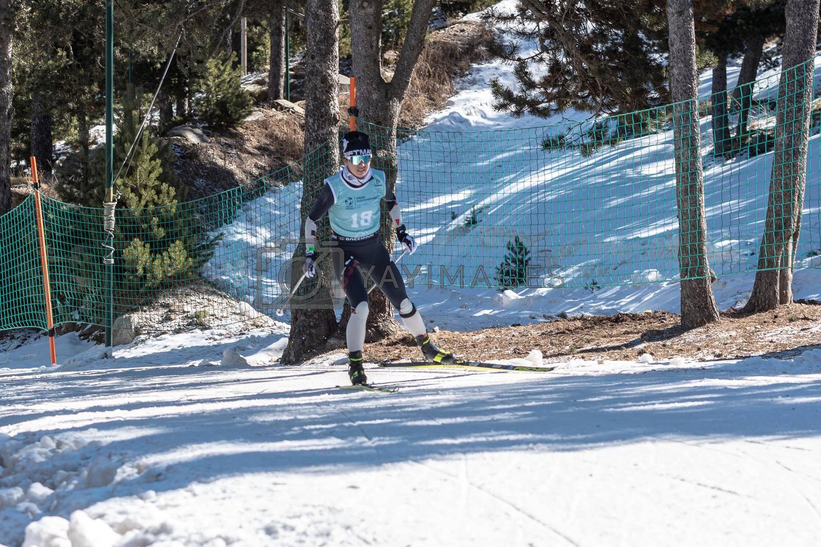 Naturlandia, Andorra : 2021 March 20 : Valeria Kuznetsova RUS in the 2021 World Triathlon Winter Championships Andorra