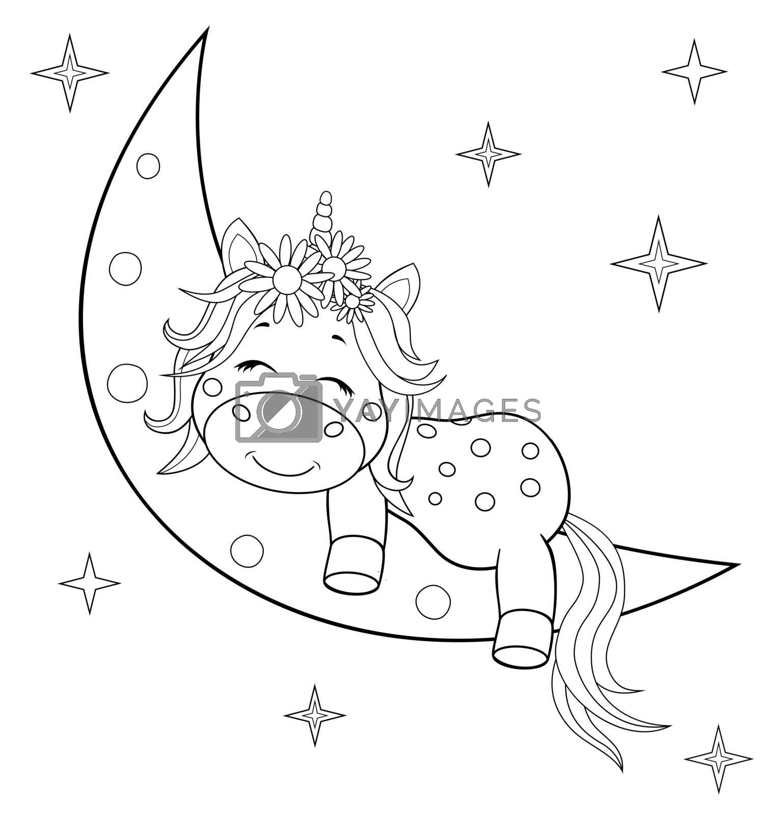 Royalty free image of Unicorn baby on the moon coloring book by liolle