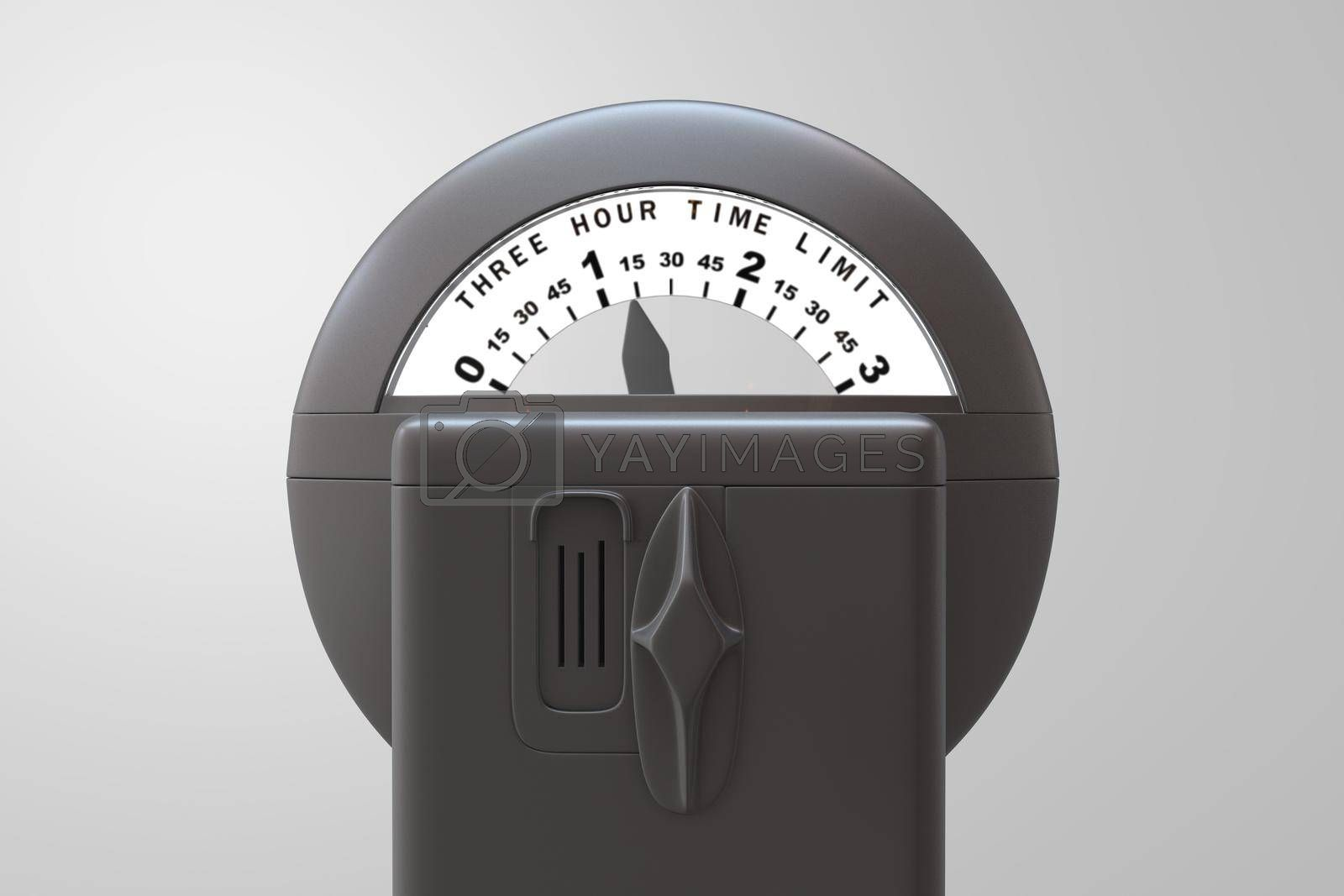 Park meter isolated on white background 3d illustration