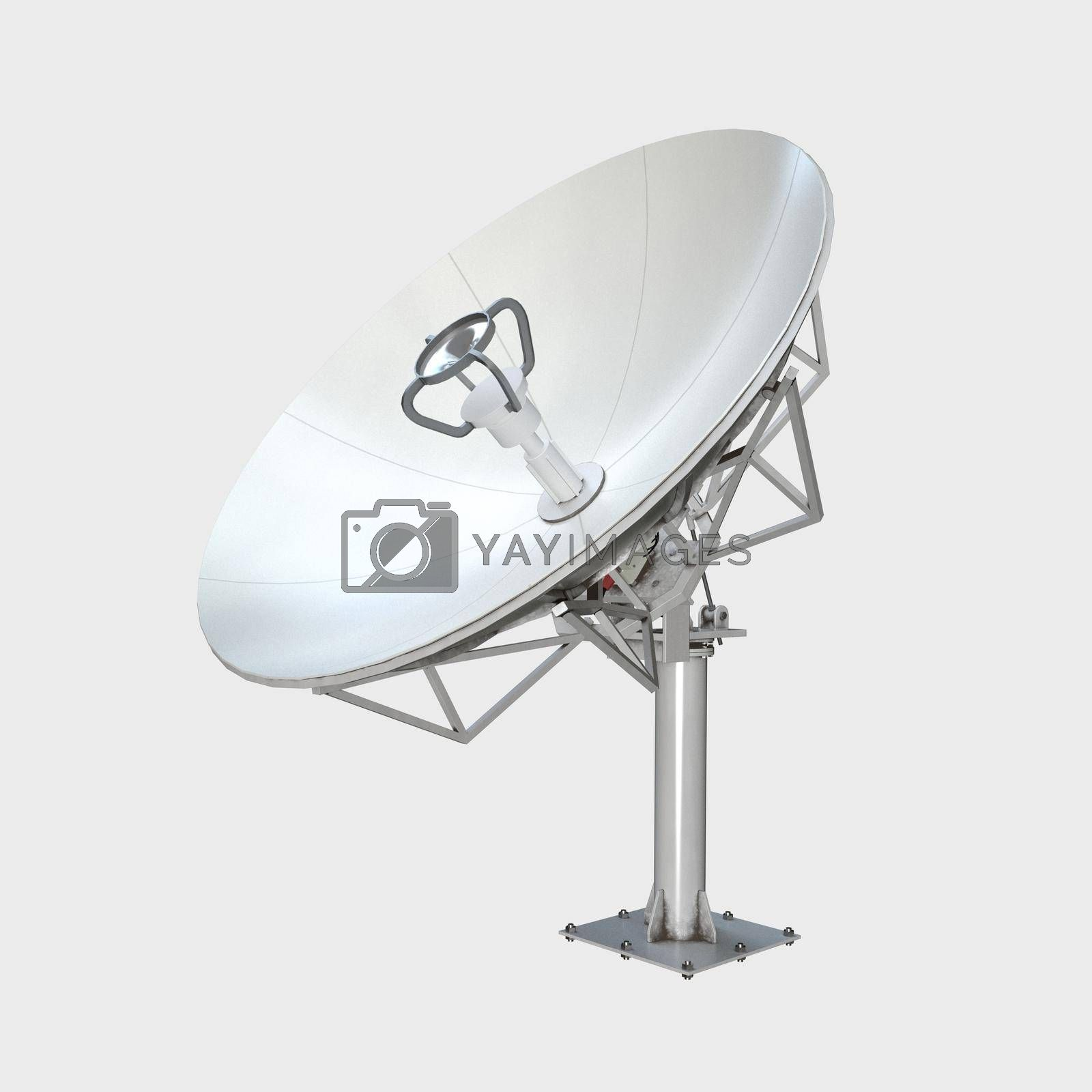 Satellite dish isolated on white background 3d illustration