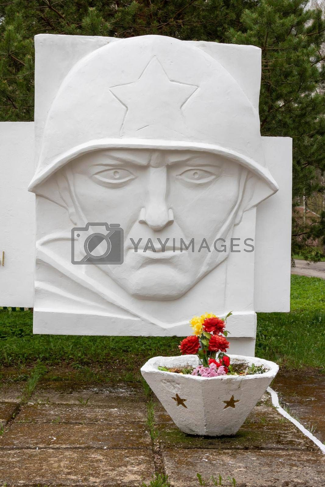 Sculpture of the head of a Soviet soldier.In the provincial Russian city of Rybinsk.
