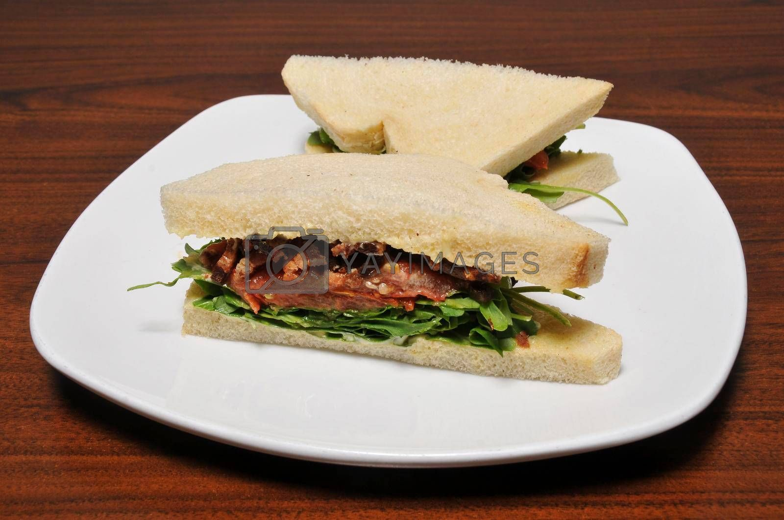 Italian finger sandwich known as Tramezzini Pancetta