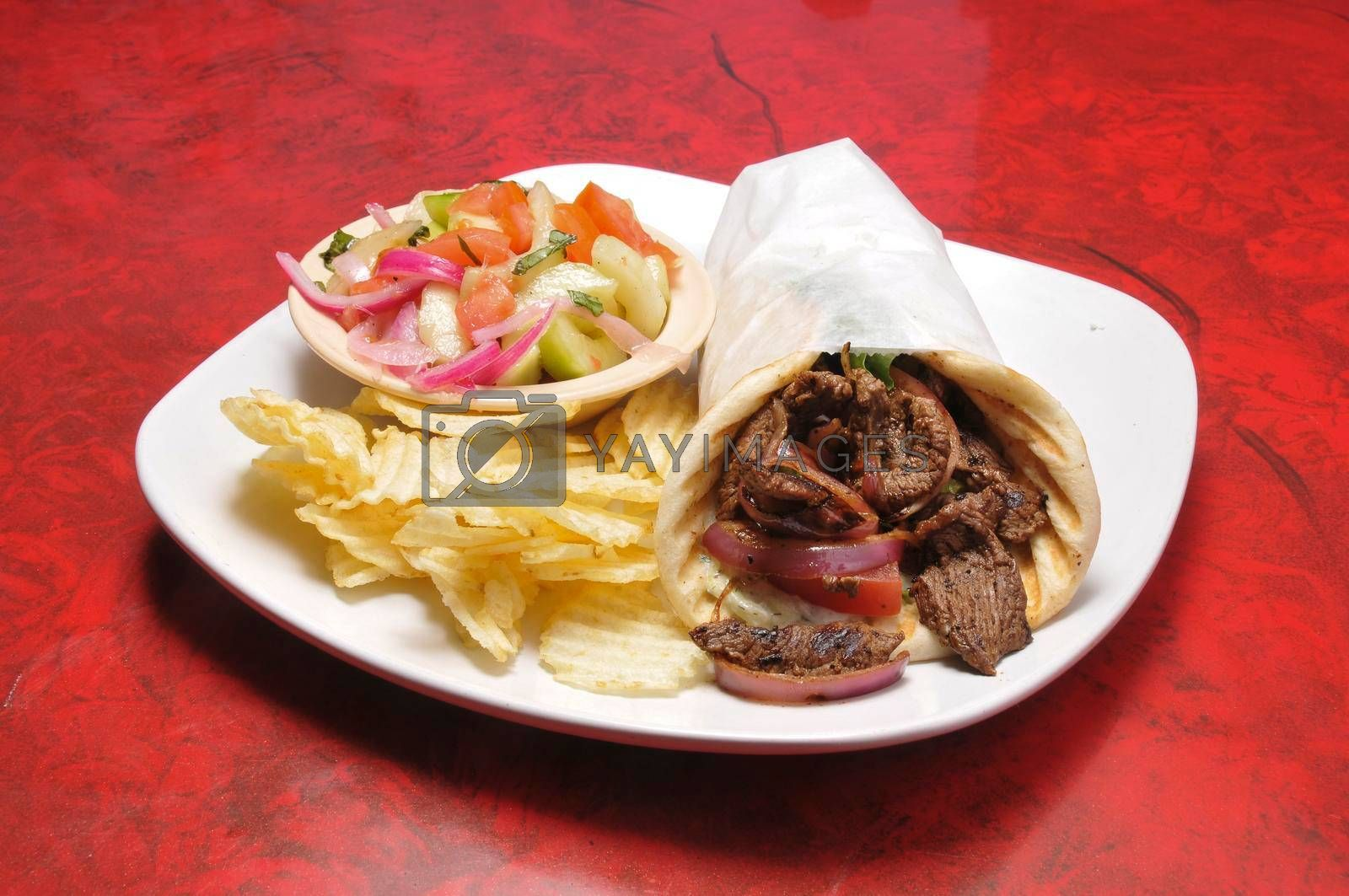 Delicious Greek dish known as a lamb gyro