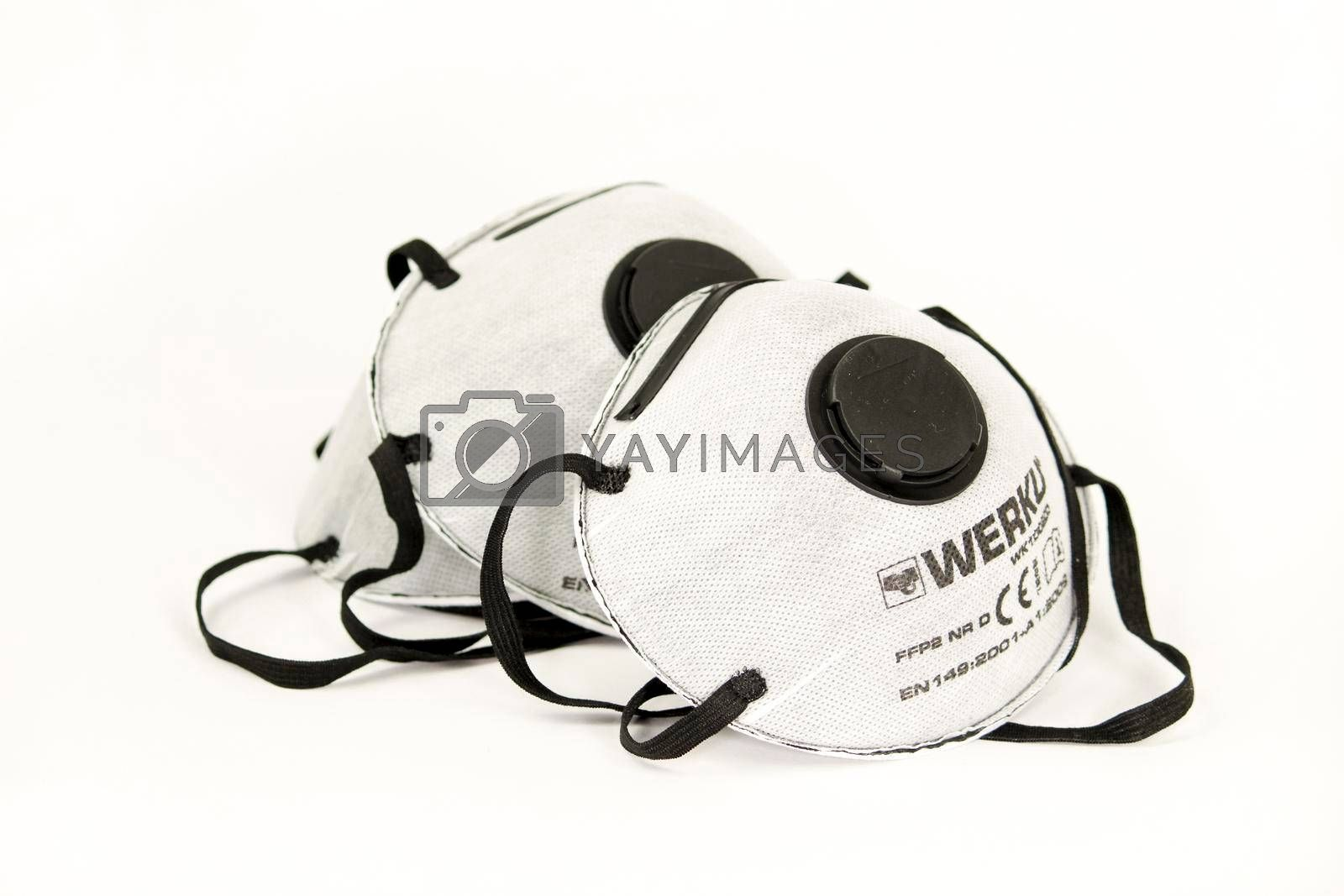 Madrid, Spain- March 30, 2020: Black and white filtration masks with european certificate on white background