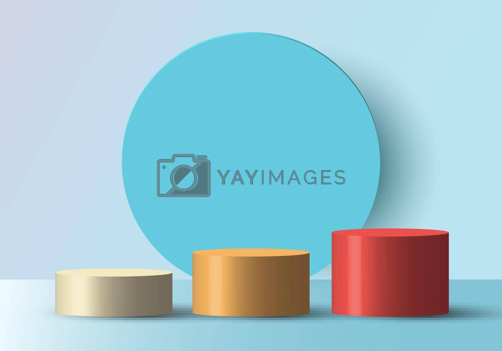 3D realistic empty white, yellow, red round step pedestal mockup with blue circle backdrop. Winner podium stage for award ceremony concept. Vector illustration