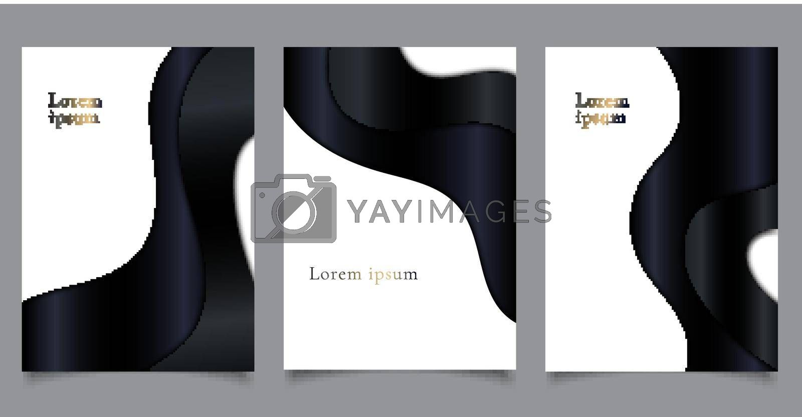 Set of brochure cover luxury template paper cut style black curve wave shape on white background. You can use for business presentation, leaflet, poster, banner, etc. Vector illustration