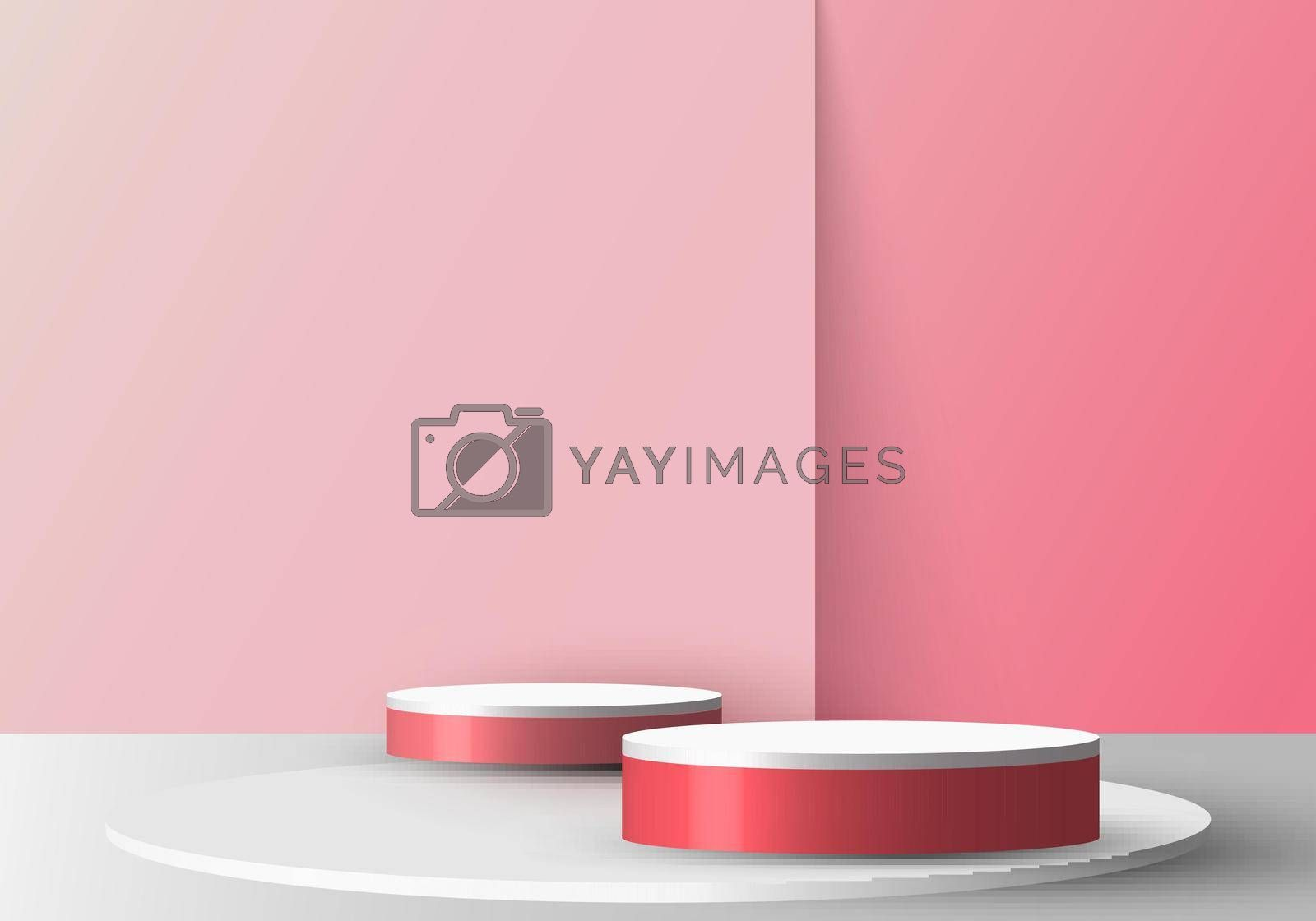 3D realistic empty red and white round pedestal mockup on soft pink backdrop. Stage floor for your graphic. Studio room showcase of modern interior design. Vector illustration