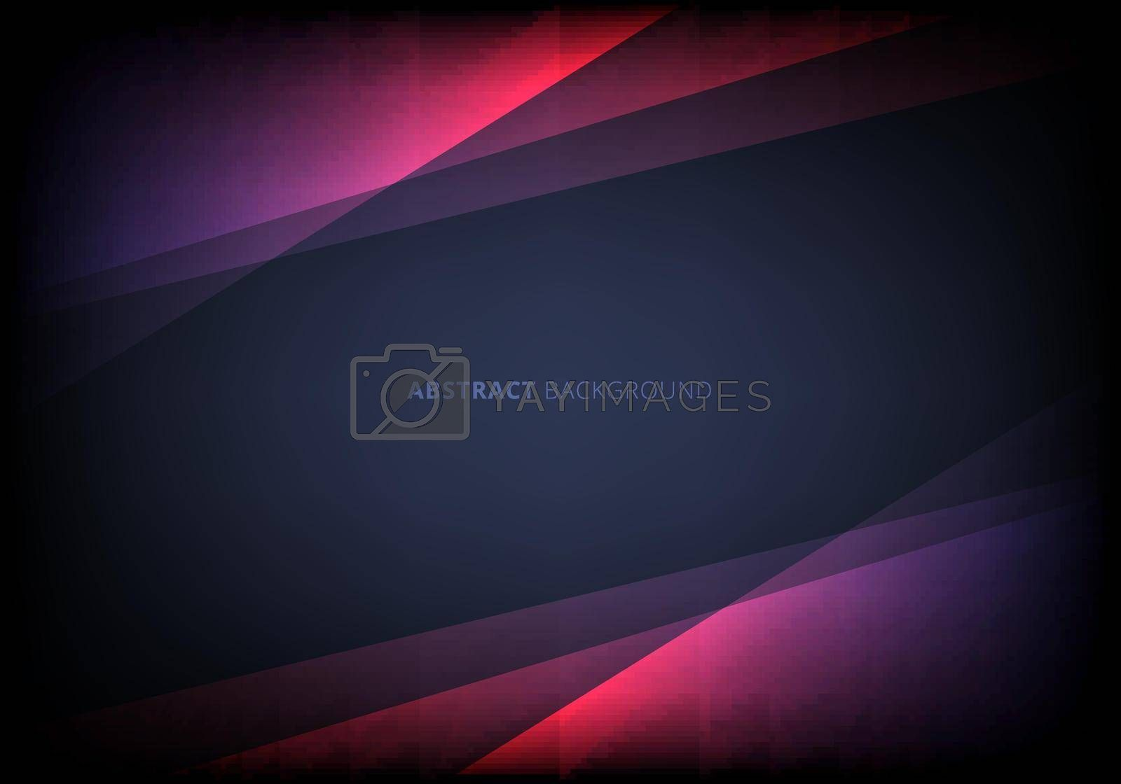 Abstract template pink triangle overlapping layered with lighting effect on dark blue background. Vector illustration