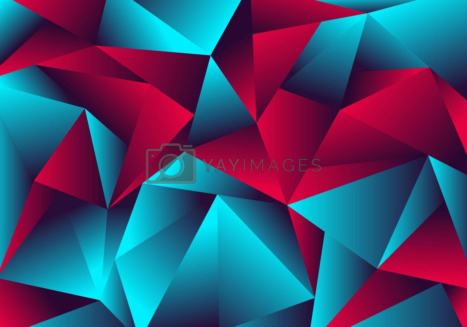 Abstract low polygon red blue gradient color neon light with a reflection on triangle background texture. Vector illustration