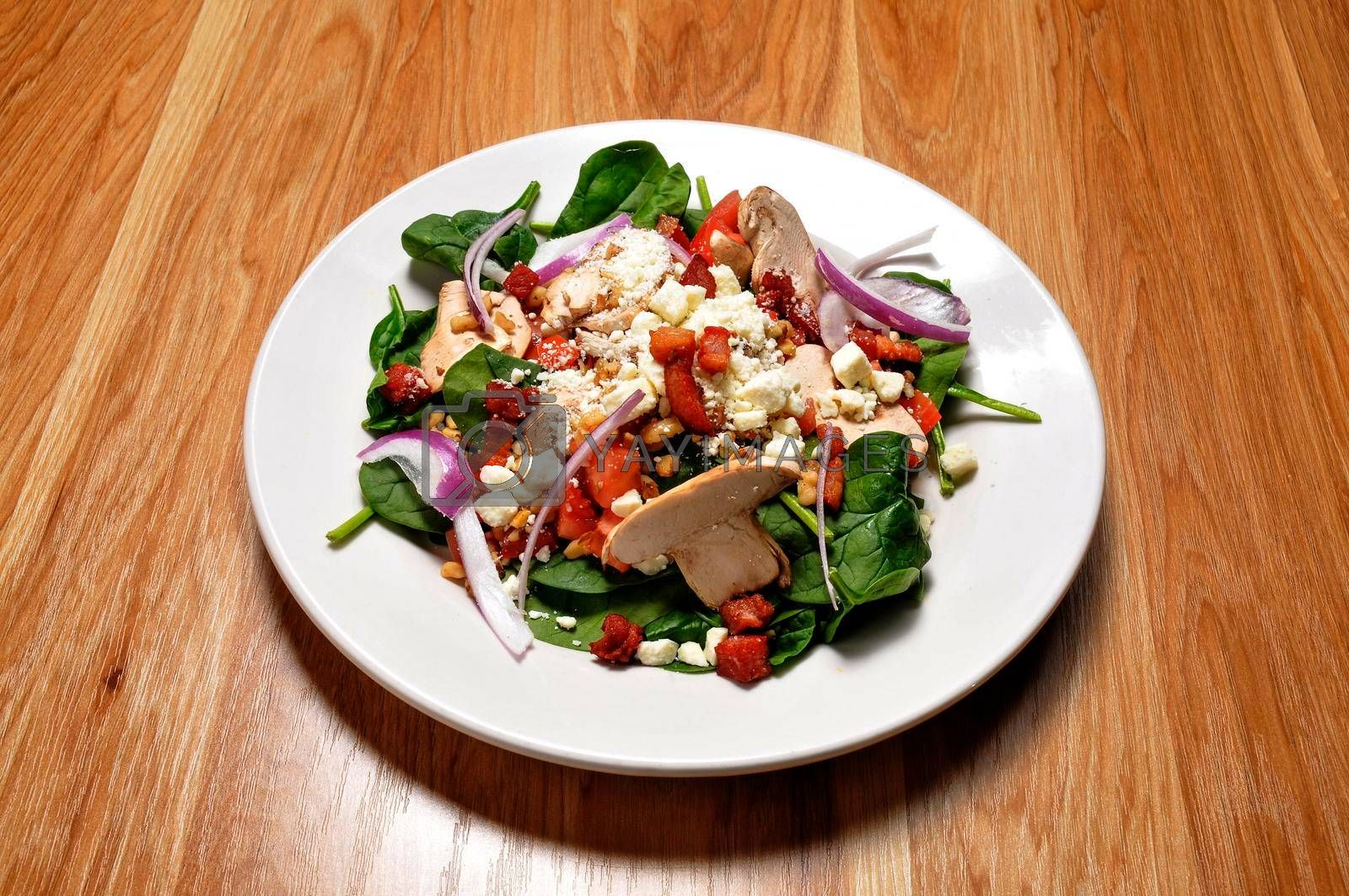 Very colorful tossed green spinach garden salad.