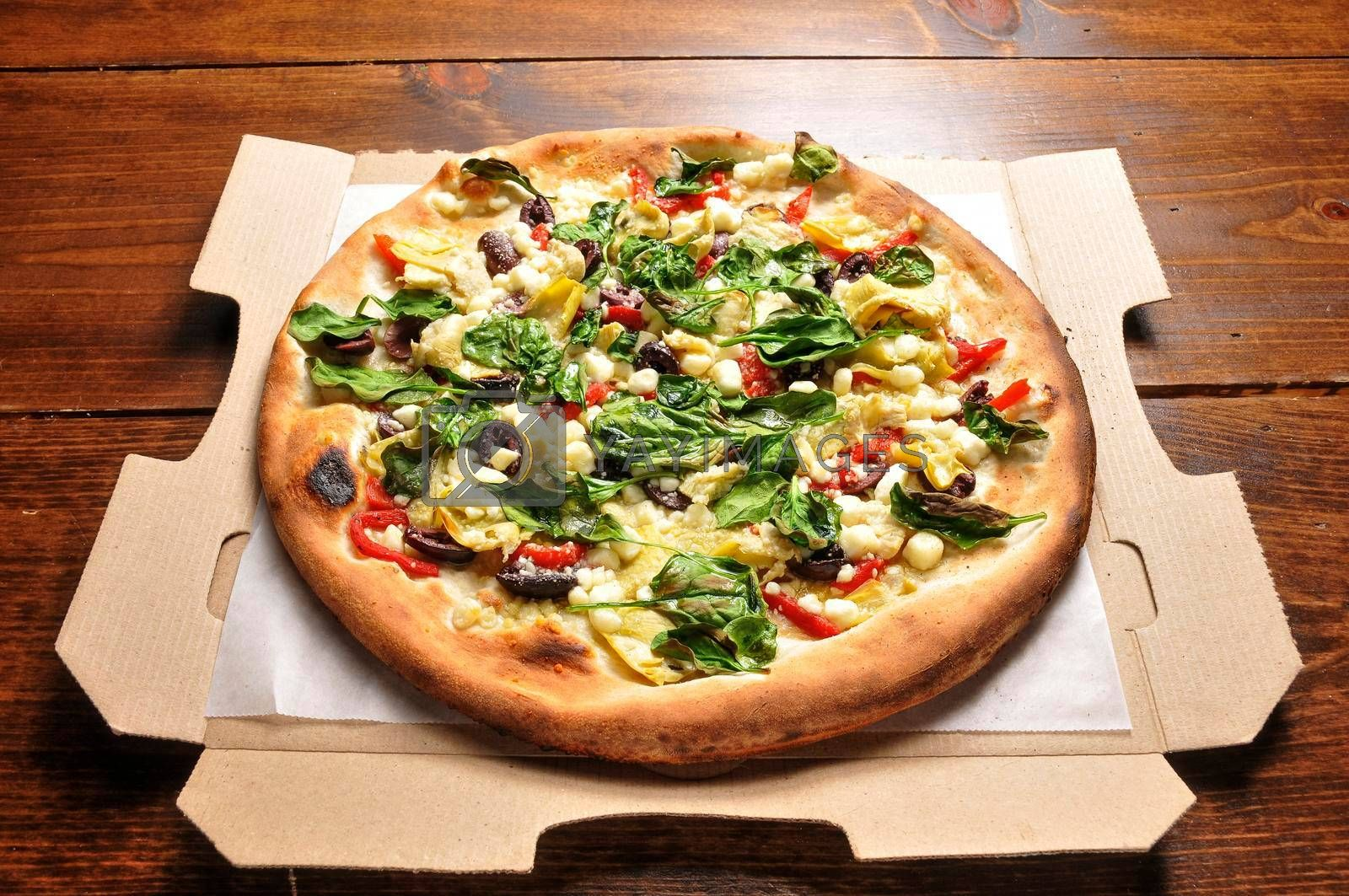 Delicious tomato sauce cheese covered hot and tasty pizza pie