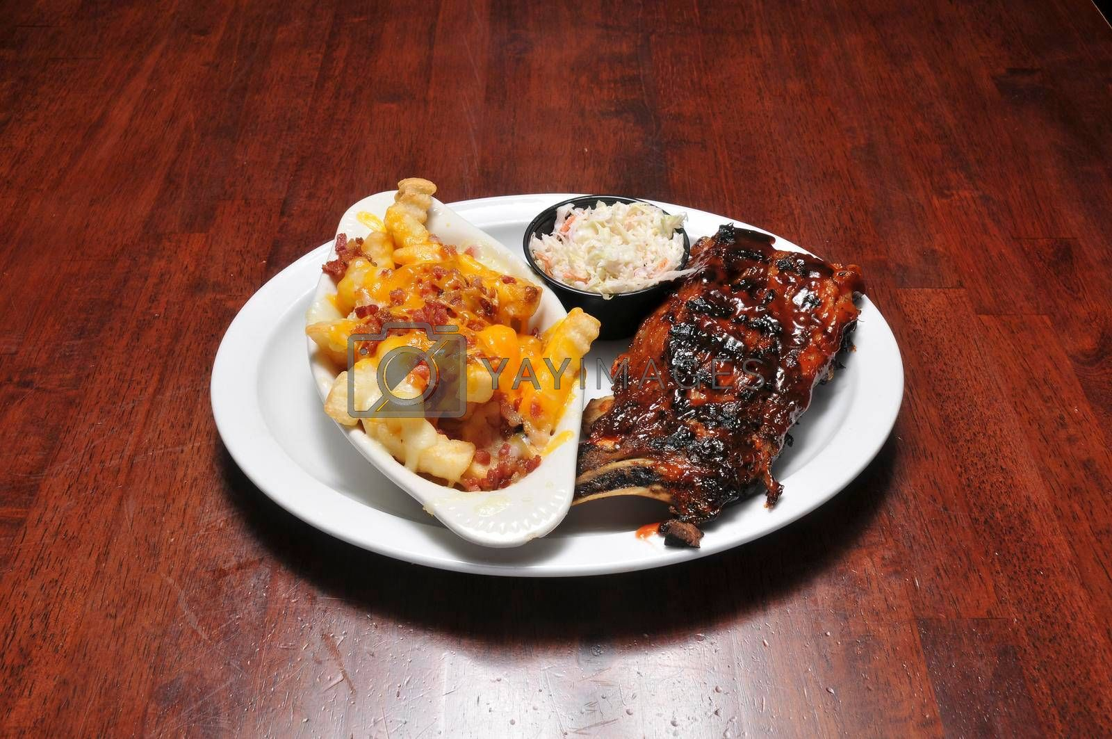 Delicious American cuisine known as barbeque ribs