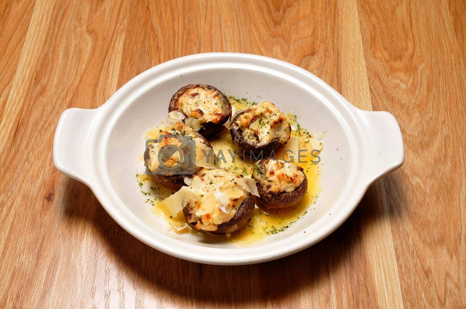 Delicious cuisine known best as stuffed mushrooms