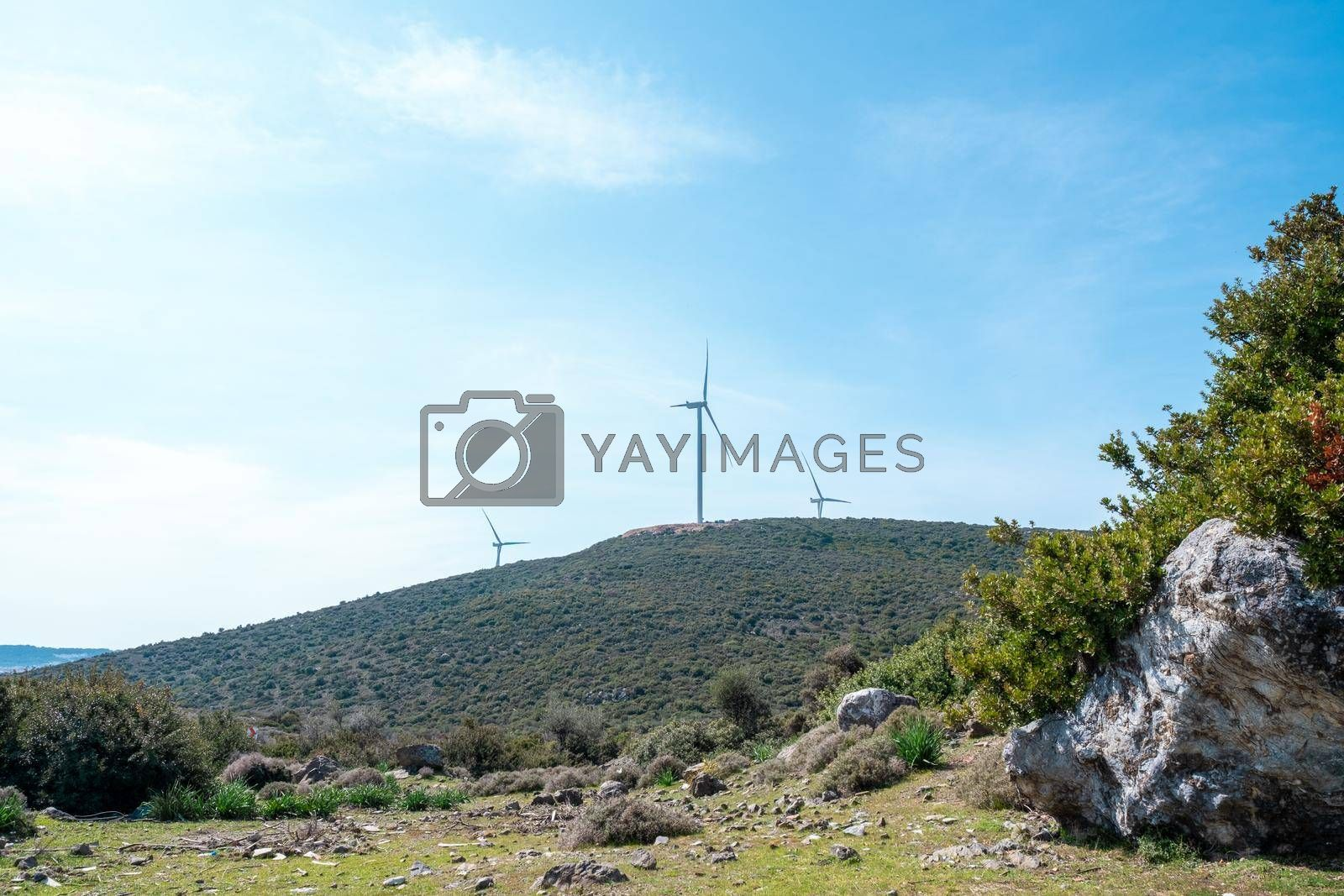 wind power station generation in a wind park at a hill in Izmir, Turkey alternative energy concept