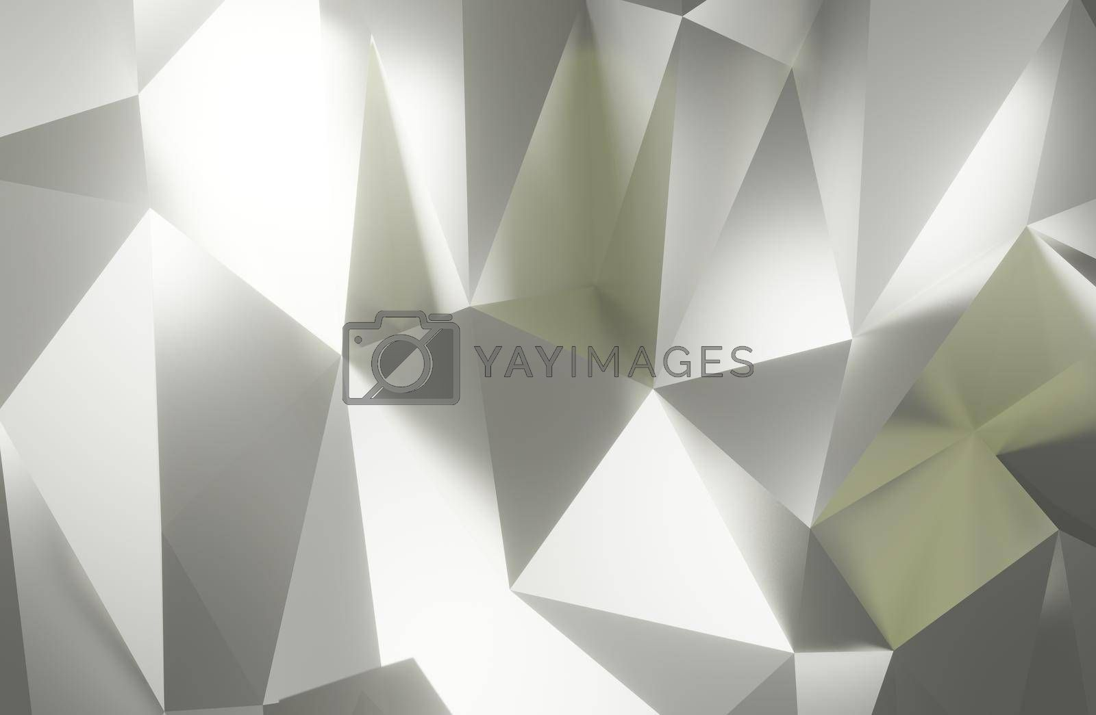 Abstract geometric pattern background polygonal triangle silver background 3d rendering.